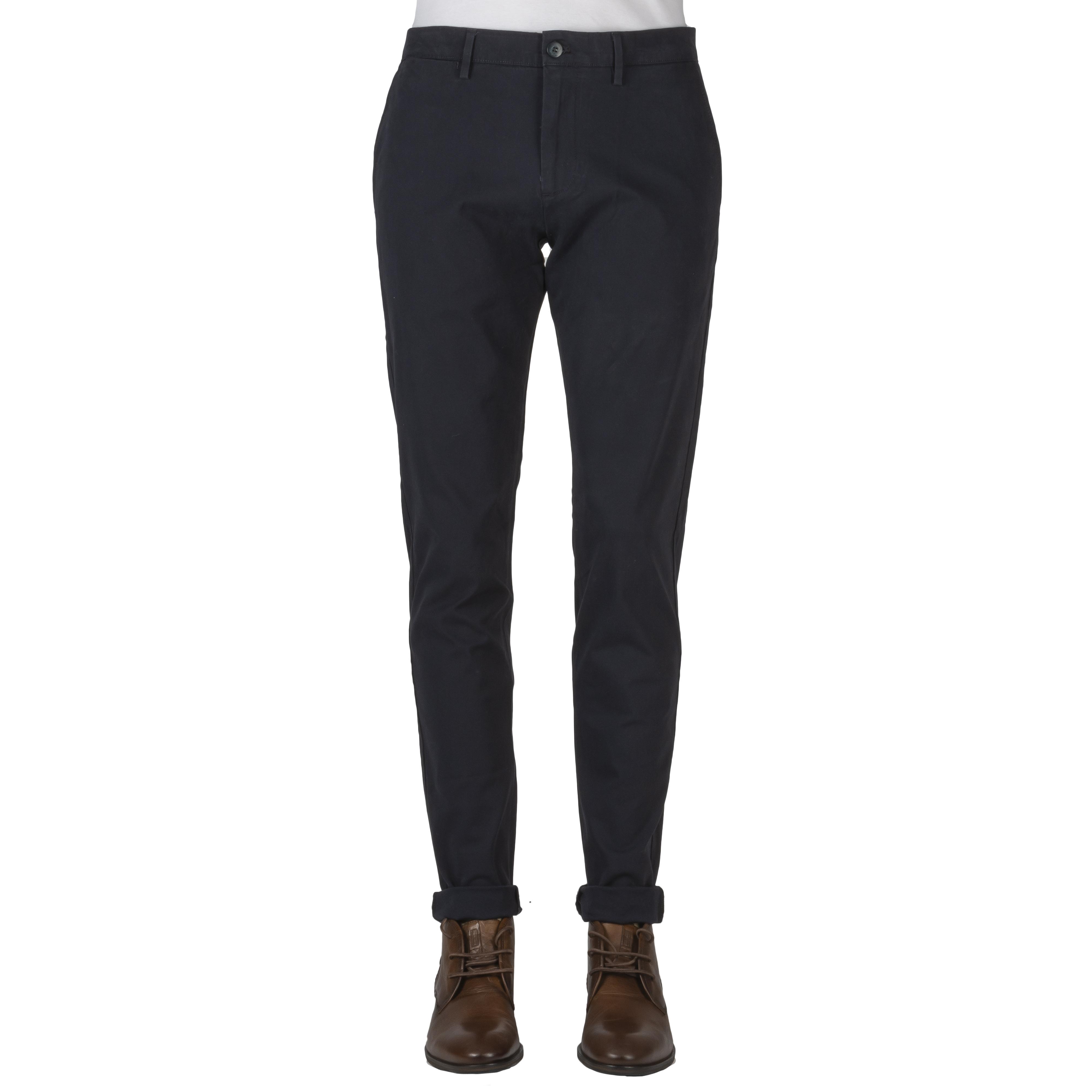 Pantalon chino  taper en coton stretch bleu nuit