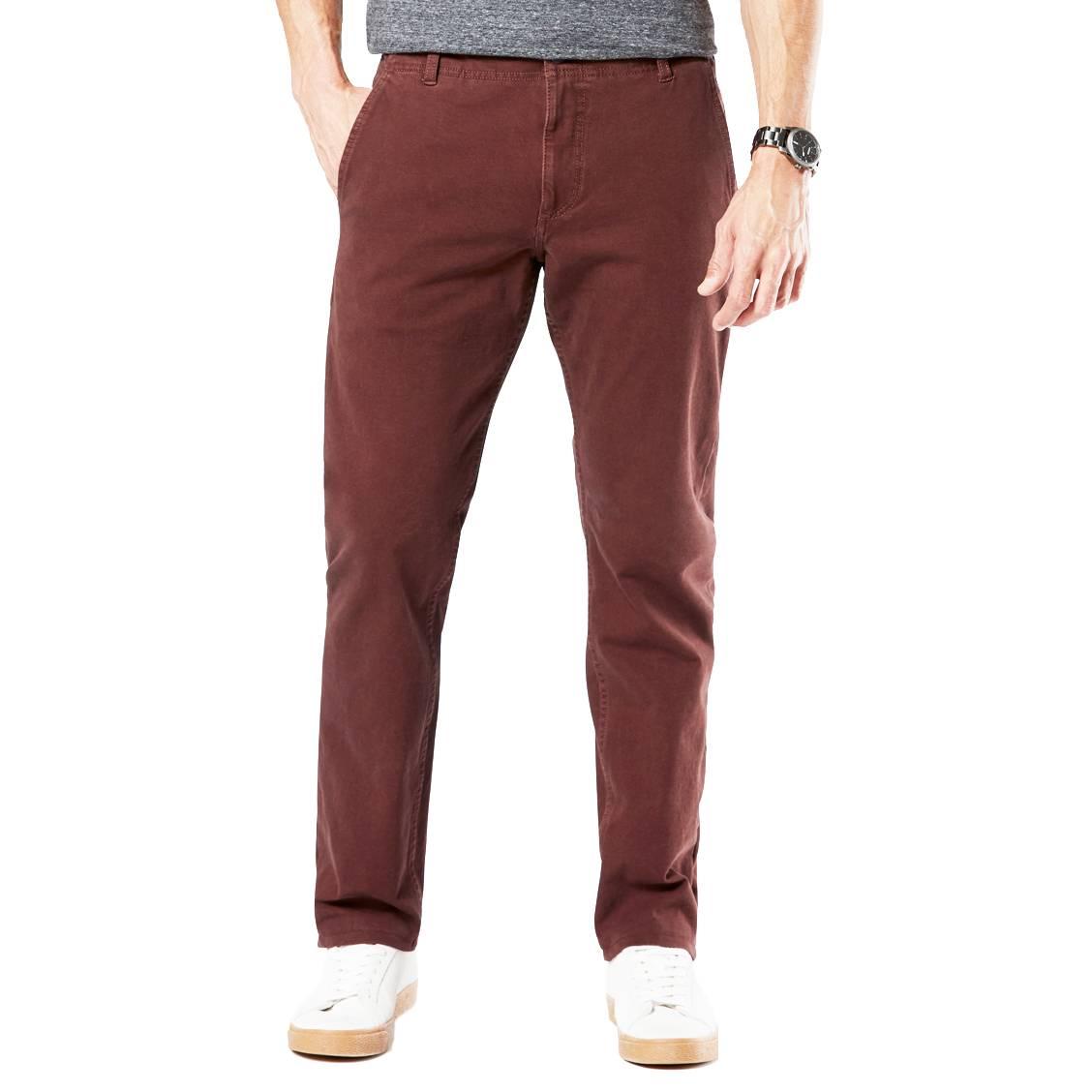 Pantalon  alpha khaki en coton stretch rouge bordeaux