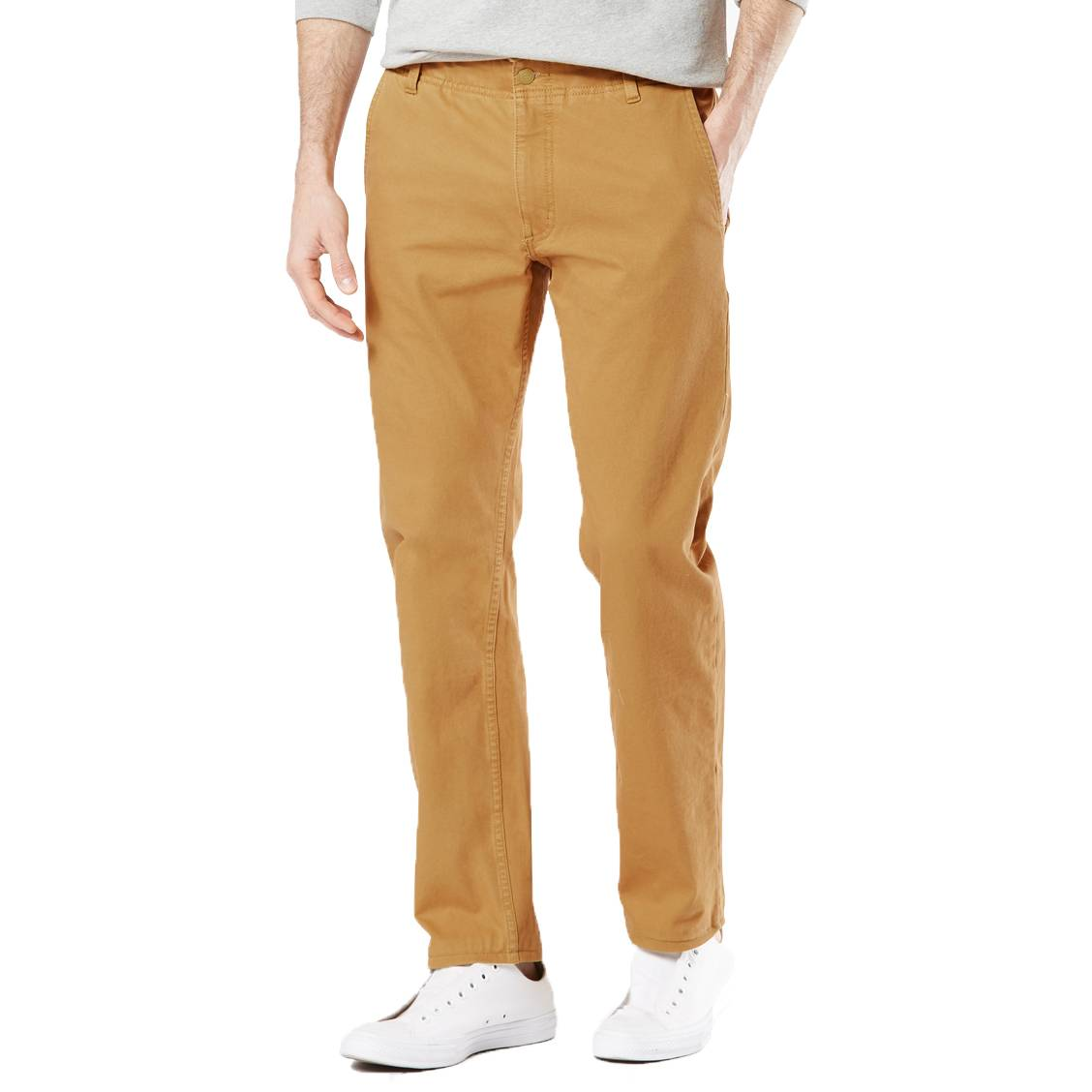 Pantalon  alpha khaki en coton stretch jaune moutarde