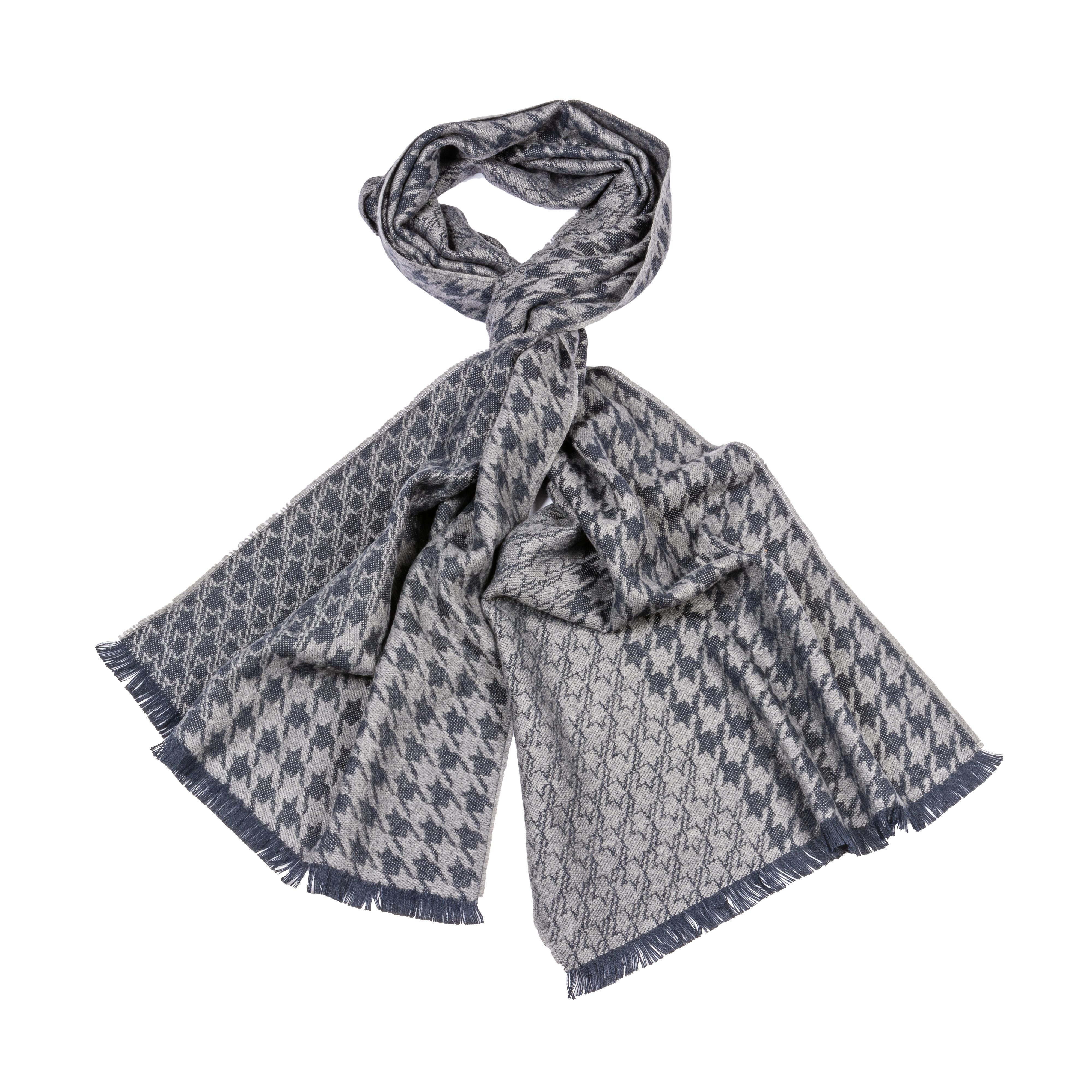 Echarpe  en laine mélangée gris chiné et gris anthracite à motifs