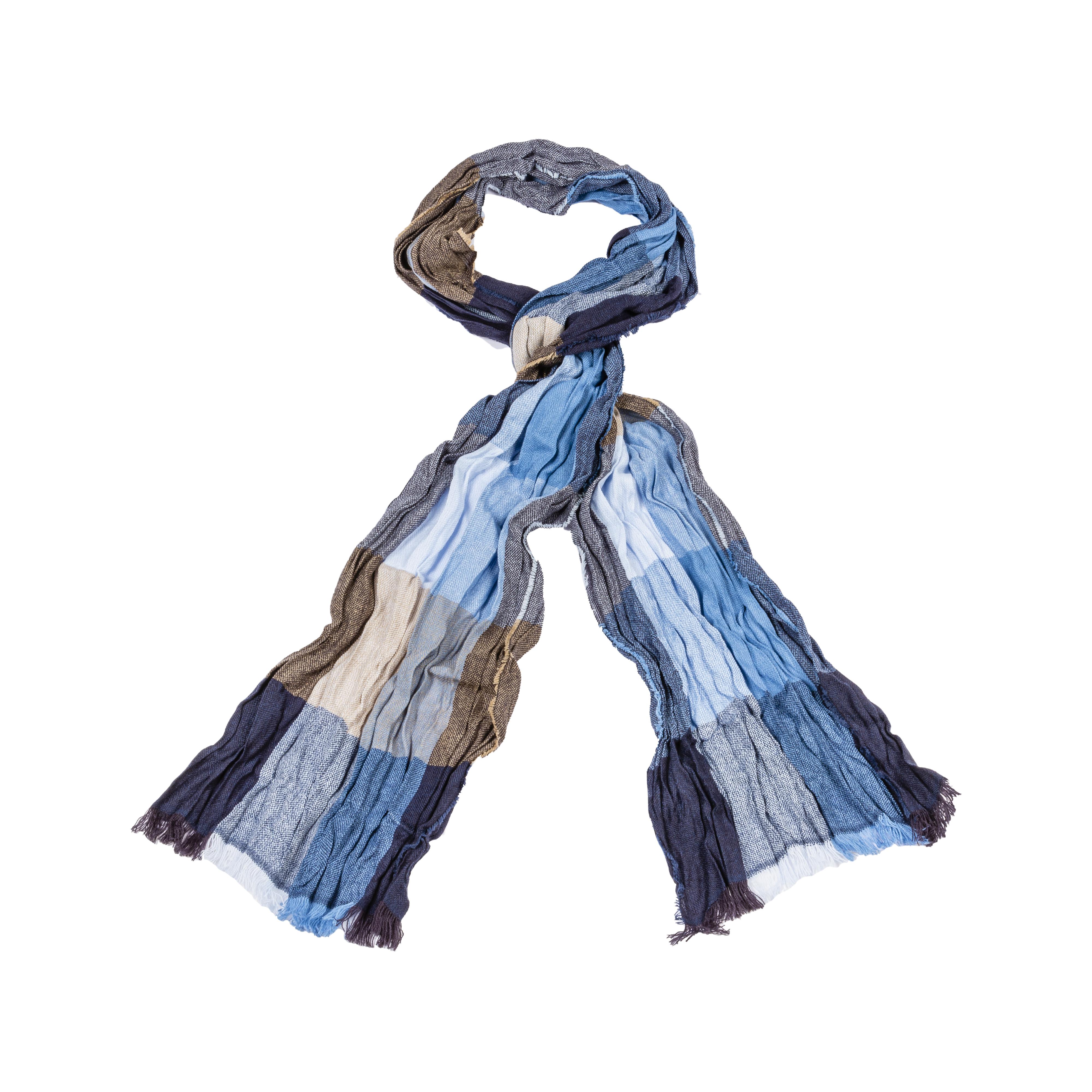 Foulard  à carreaux bleus et marron