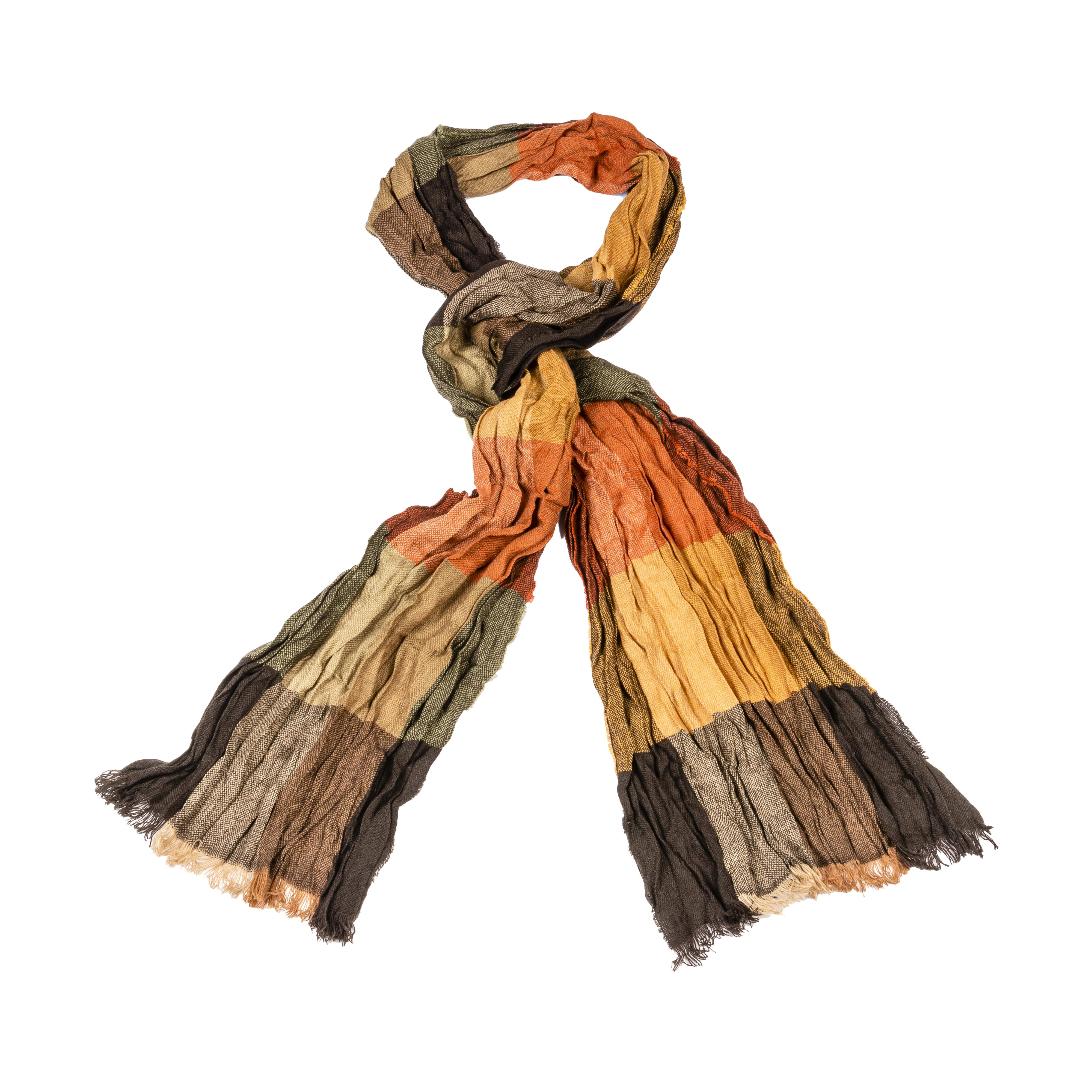 Foulard  à carreaux rouges, orange et marron
