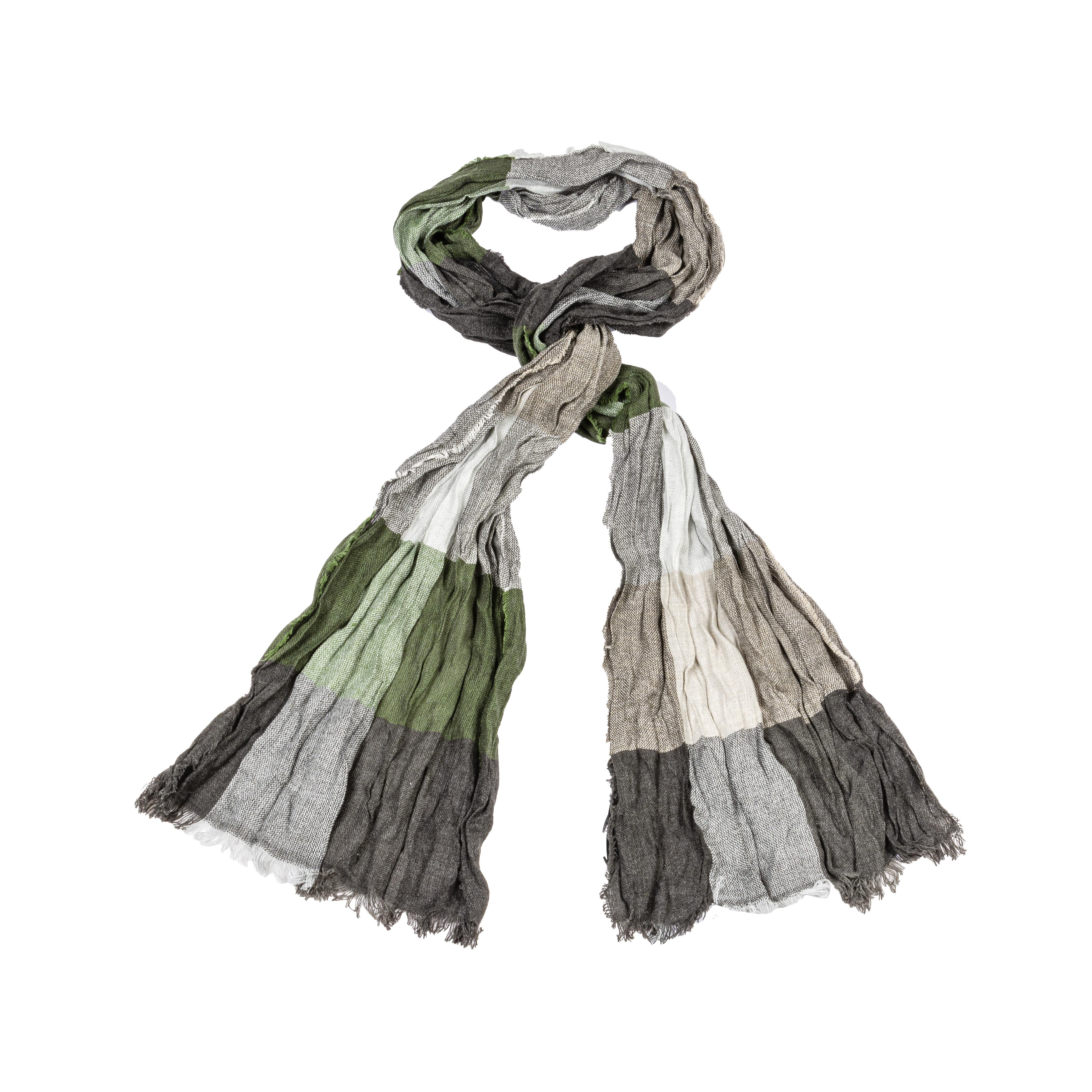 Foulard  effet froissé à carreaux gris clair, gris anthracite et vert
