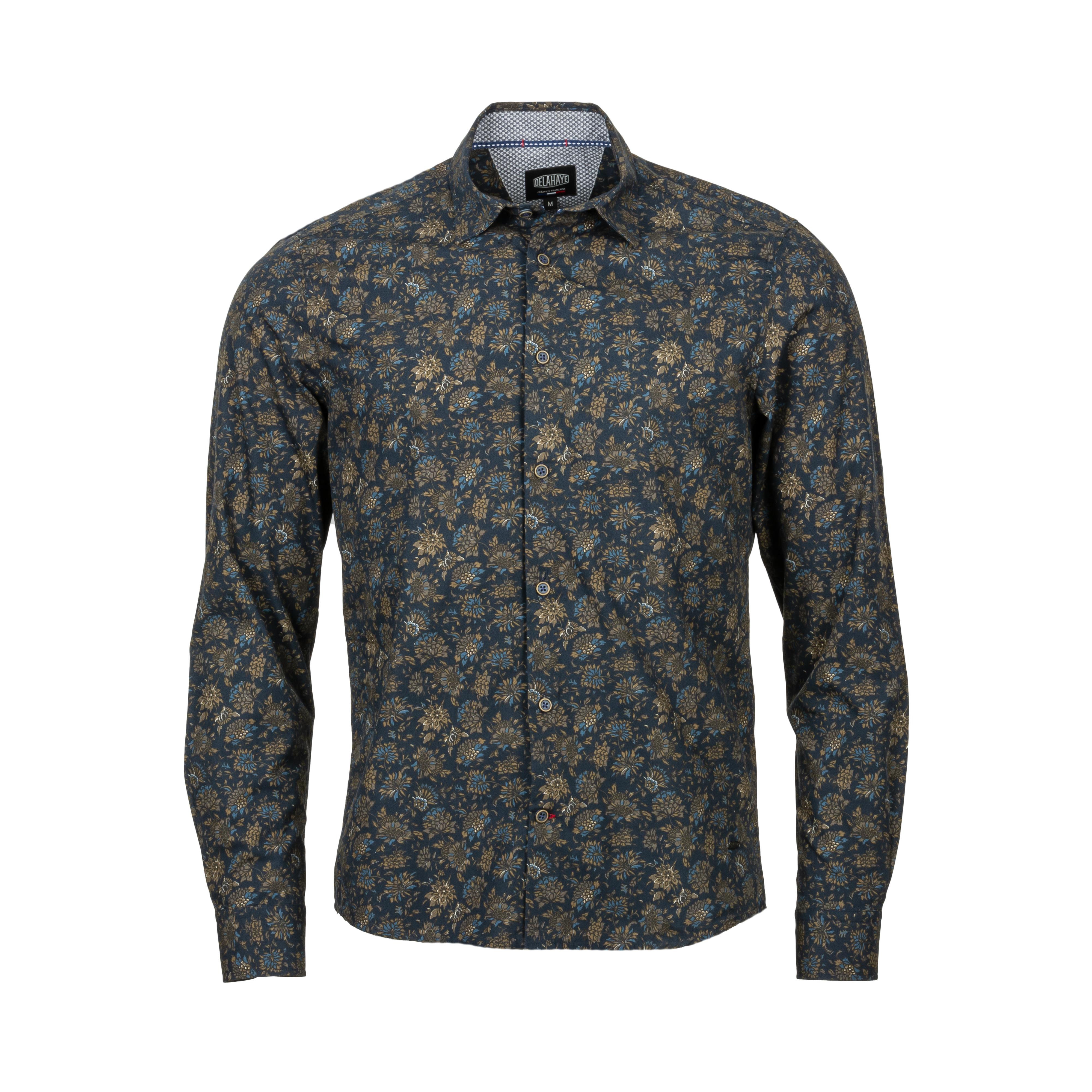 Chemise ajustée Delahaye en coton bleu marine à motifs fleuris