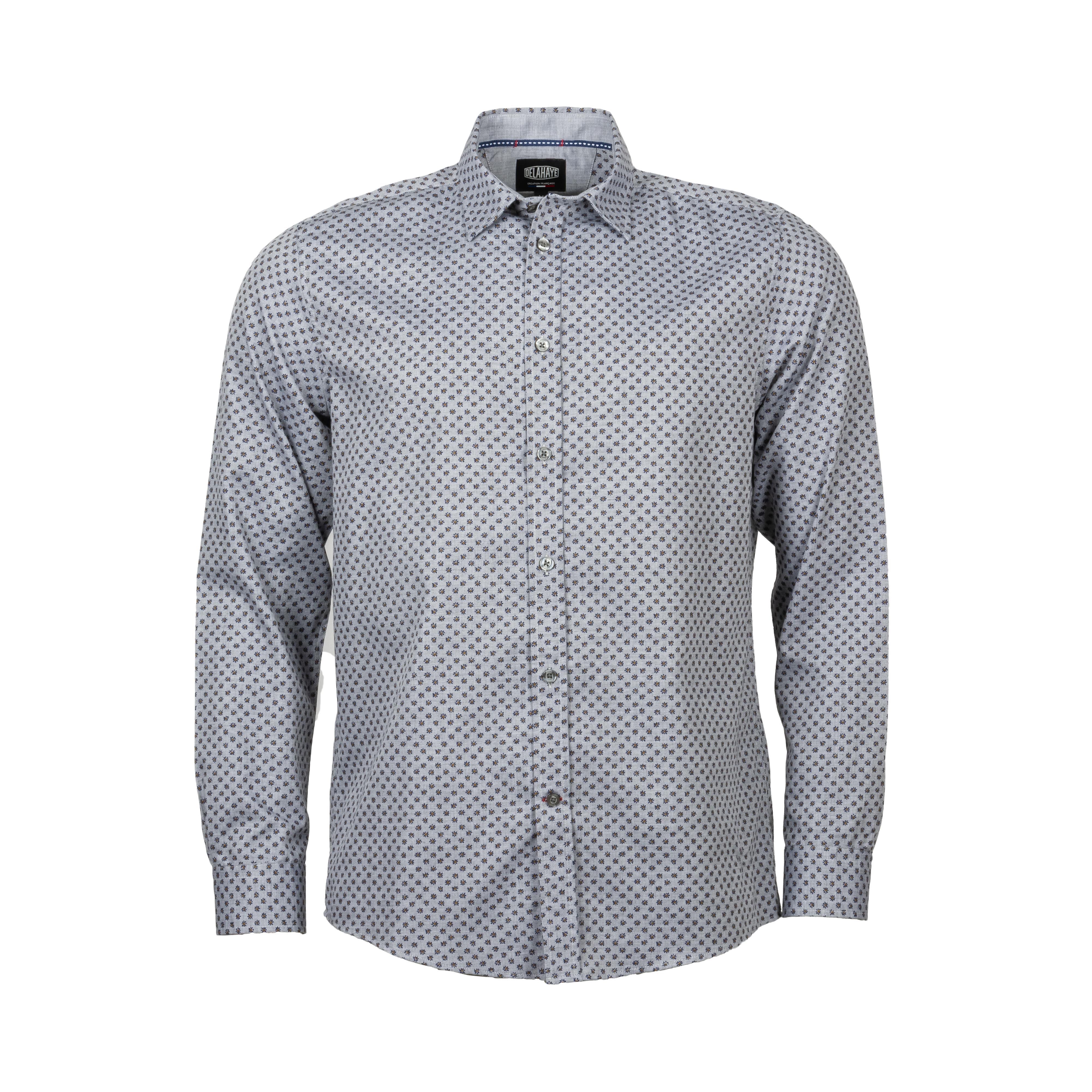 Chemise ajustée Delahaye en coton gris chiné à motifs fleuris