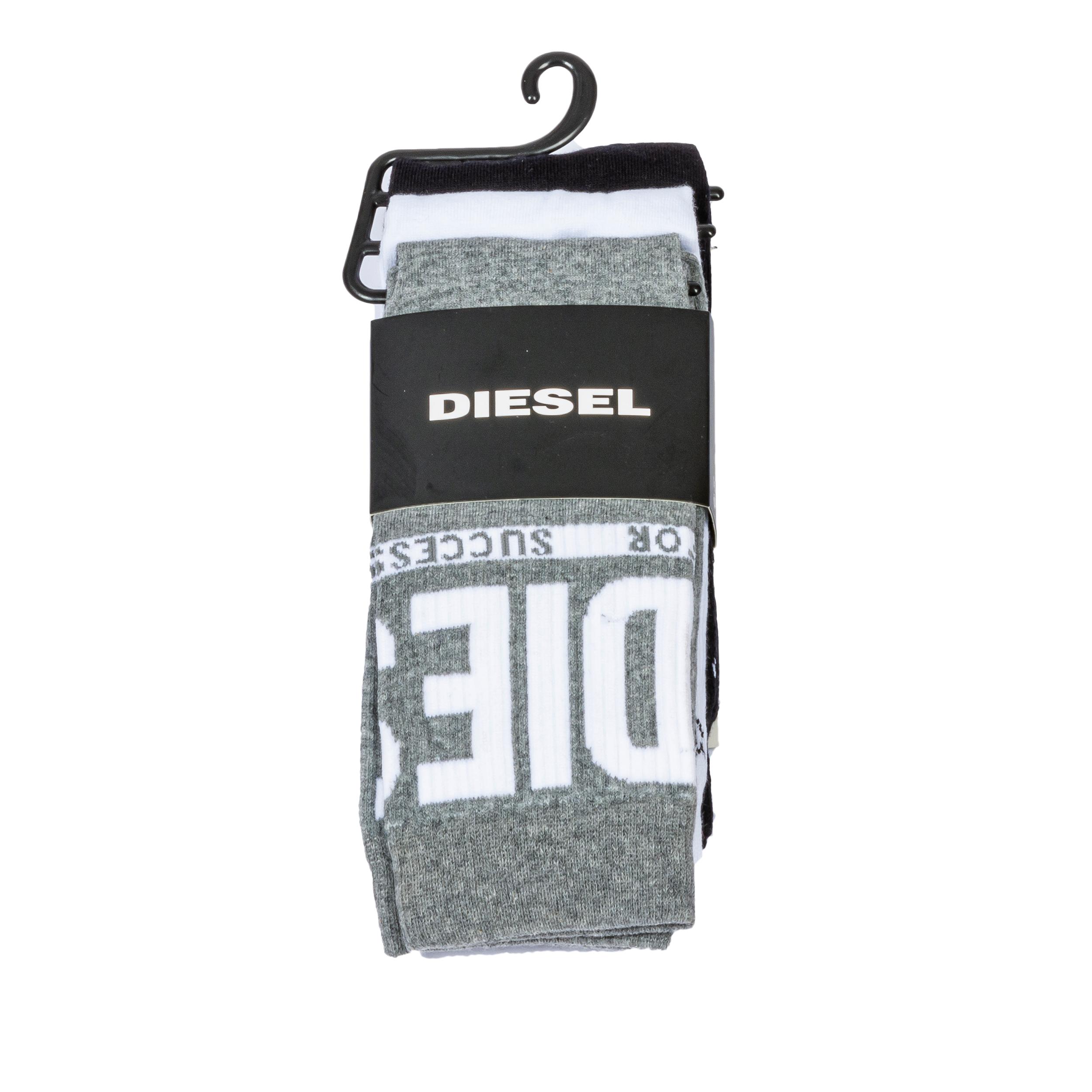 Lot de 3 paires de chaussettes diesel ray en coton mélangé blanches, grises et noires à logo blanc et noir