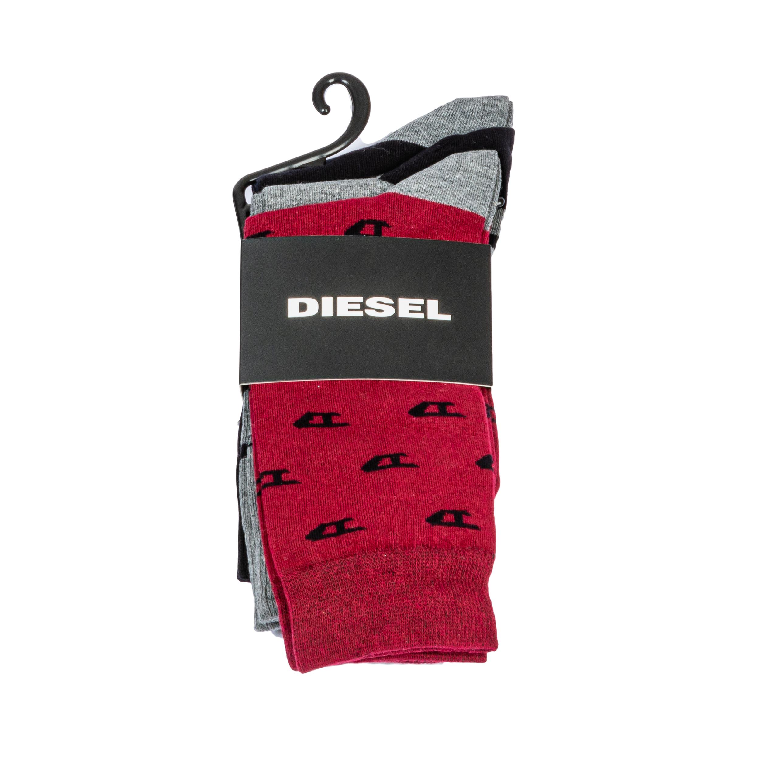 Lot de 3 paires de chaussettes diesel ray en coton mélangé bordeaux, grises et noires