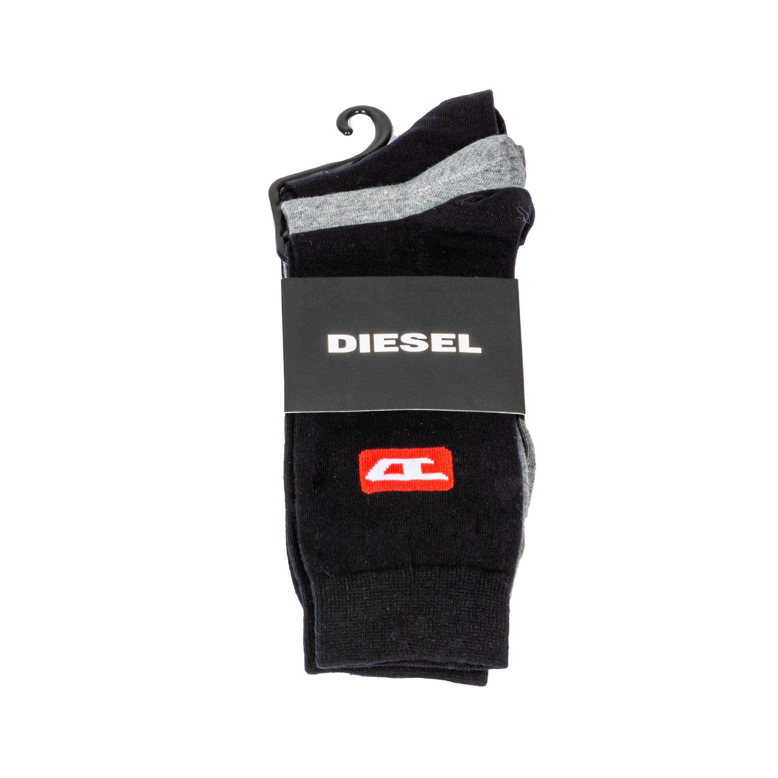 Lot de 3 paires de chaussettes diesel ray en coton mélangé noires et gris chiné à liserés rouges