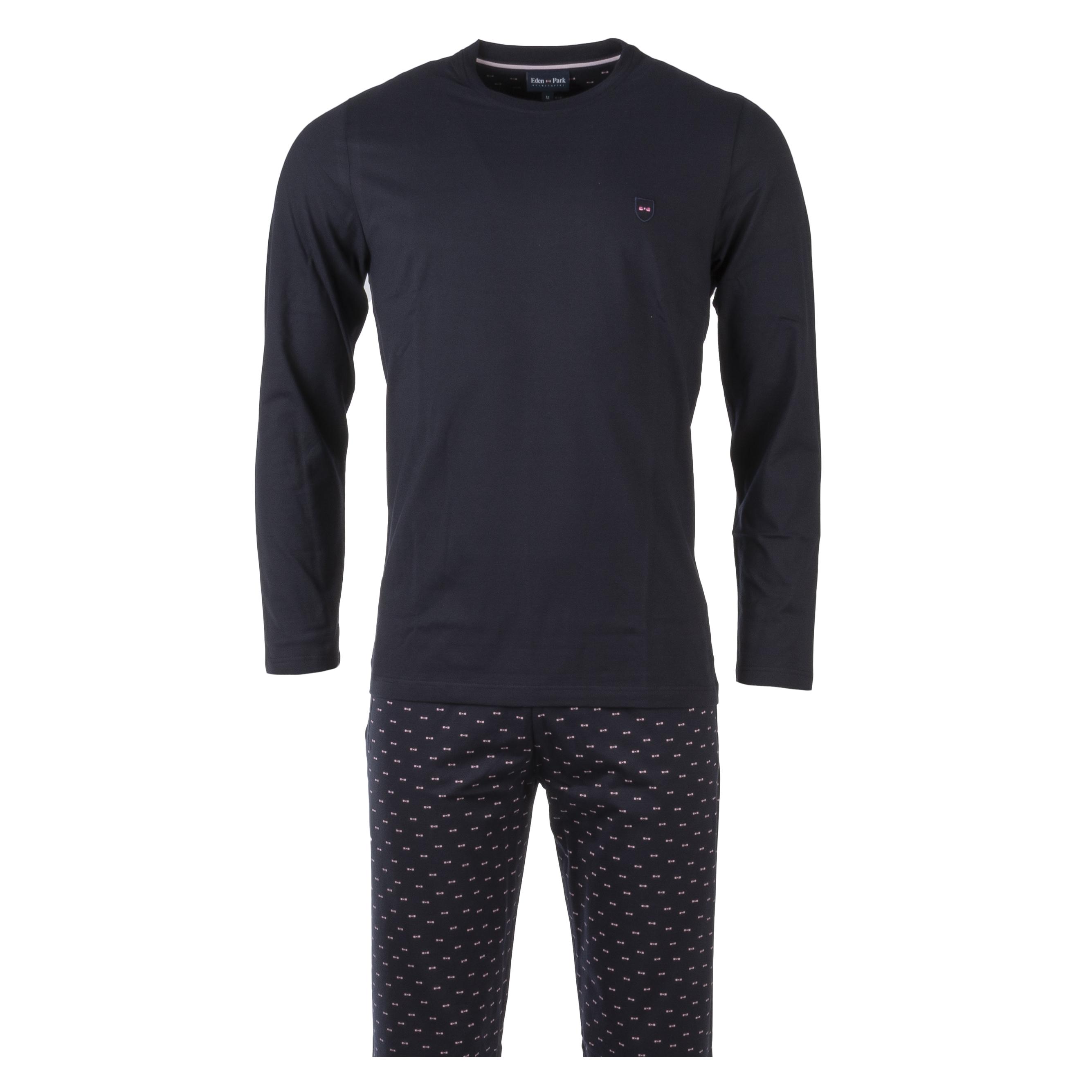 Pyjama long eden park en coton : tee-shirt manches longues col rond bleu marine et pantalon bleu marine logotypé