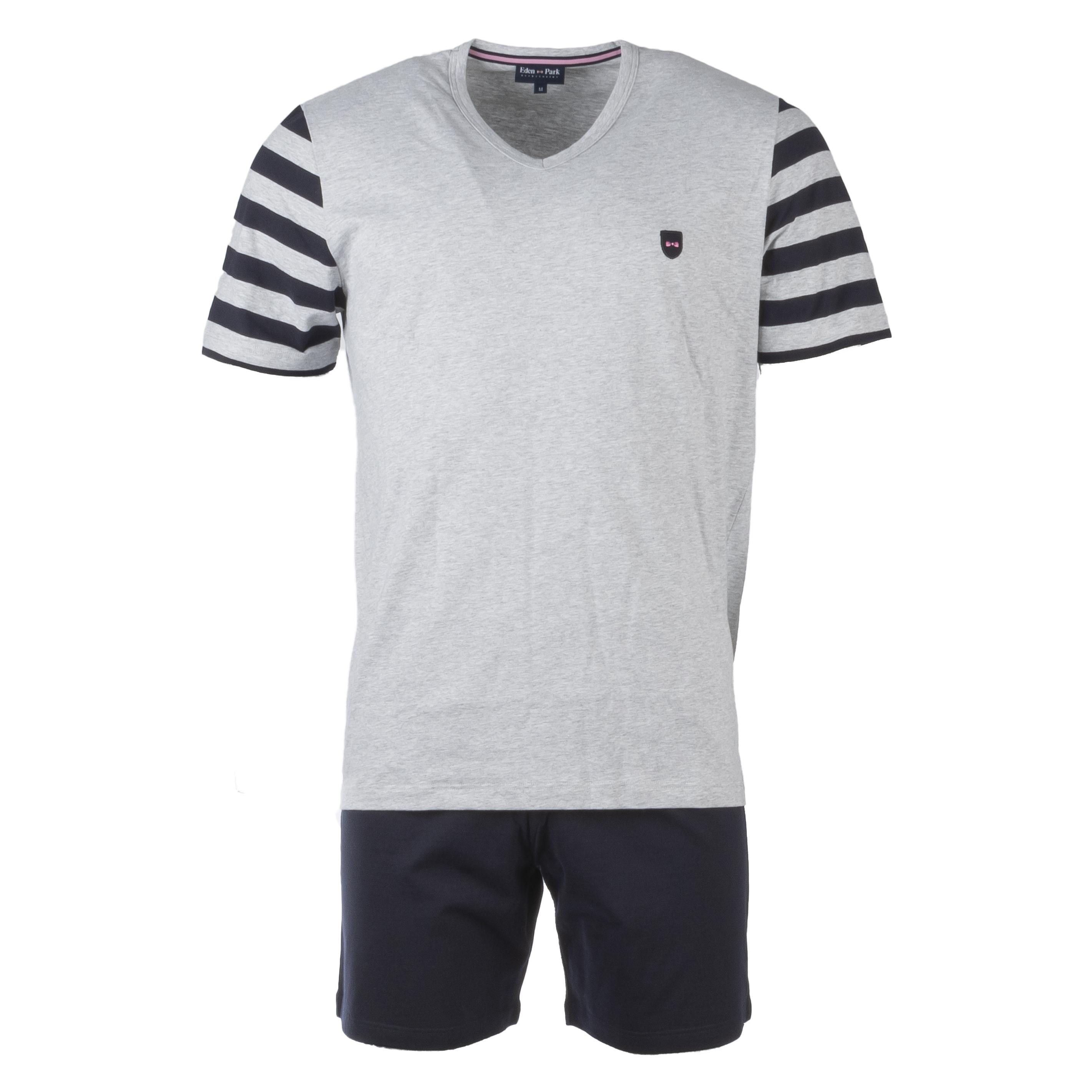 Pyjama court eden park en coton : tee-shirt manches courtes col v gris à opposition rayé et short bleu marine