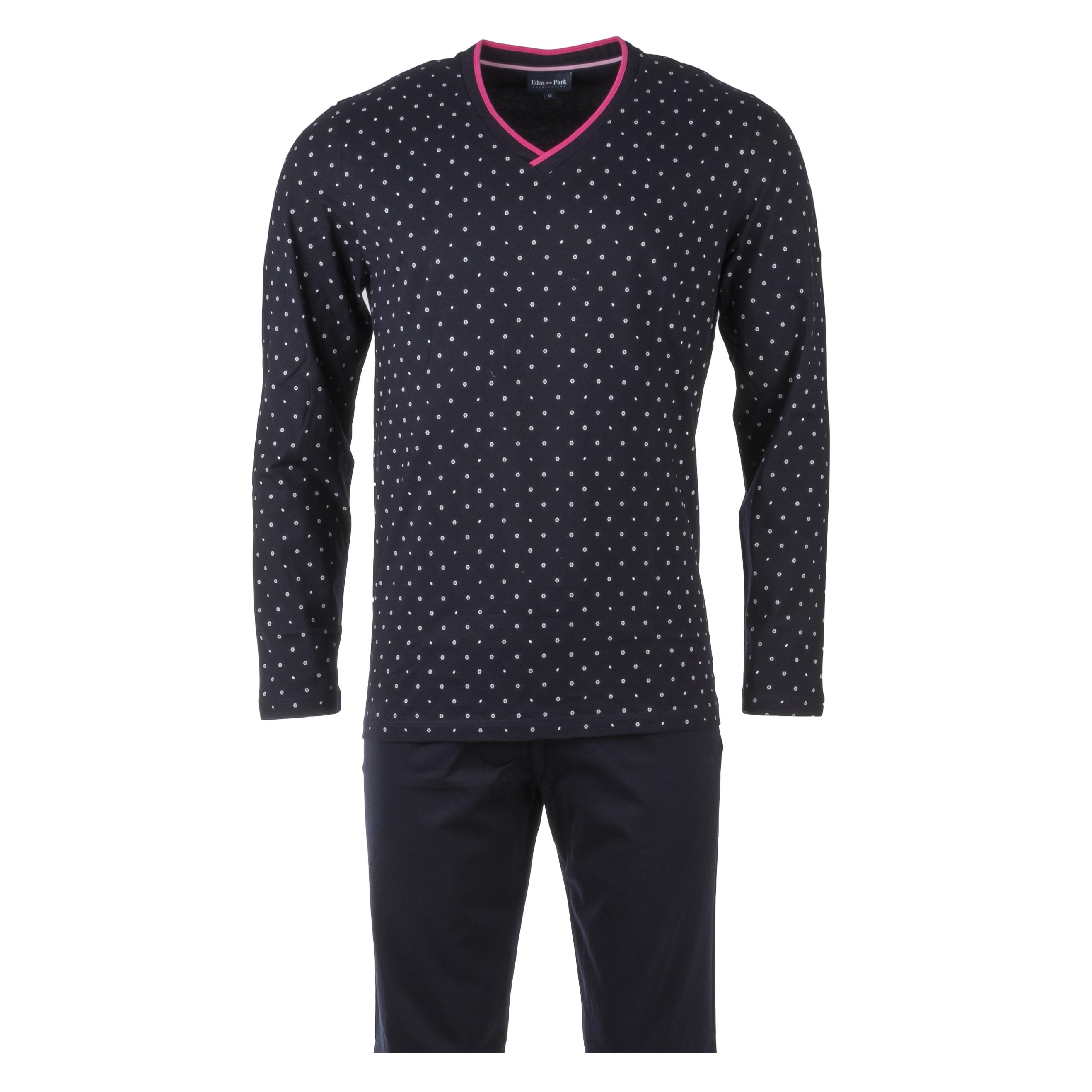 Pyjama long eden park en coton : tee-shirt manches longues col v bleu marine à motifs floraux blancs et pantalon bleu marine