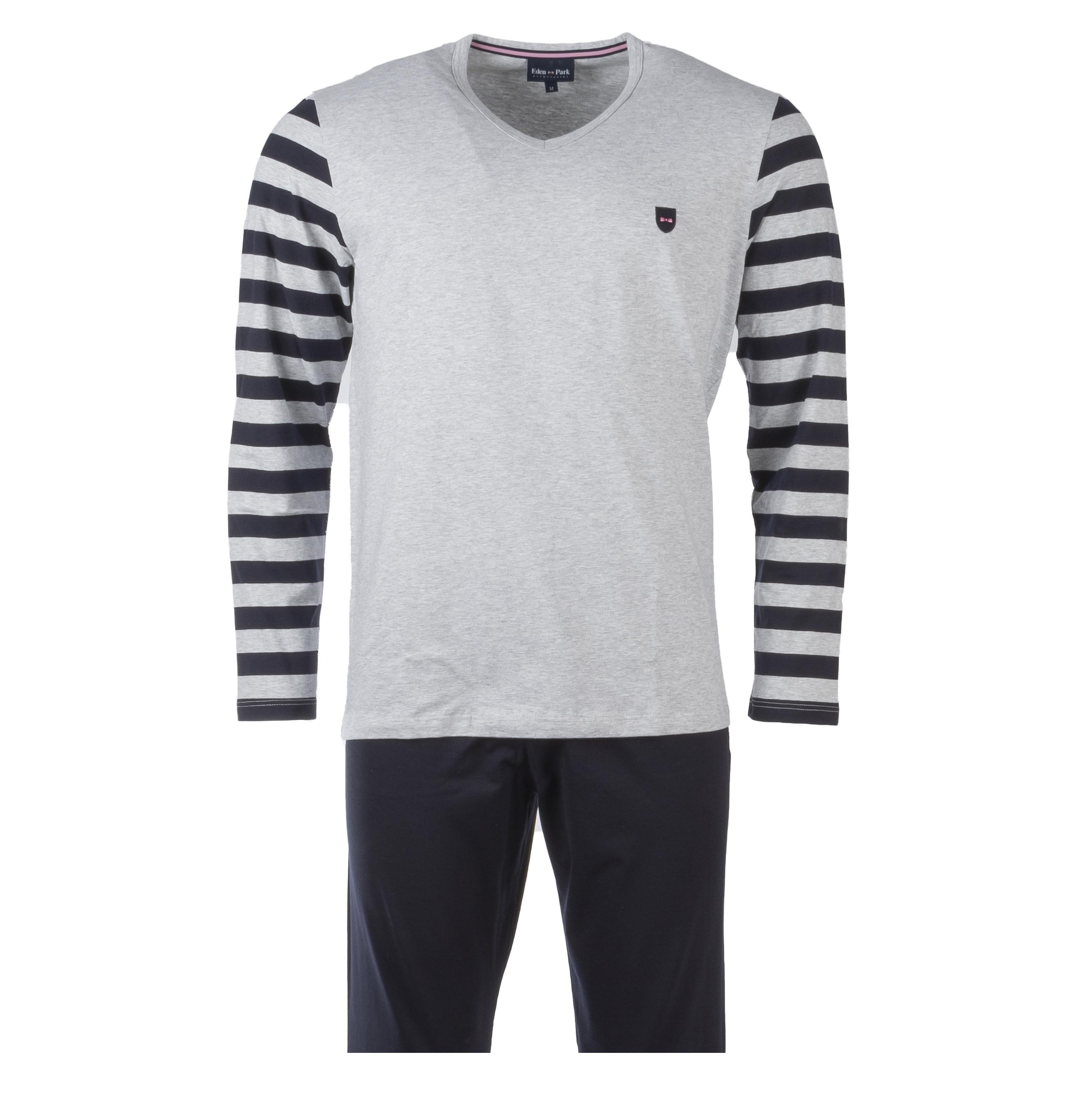 Pyjama long eden park en coton : tee-shirt manches longues col v gris à opposition rayé et pantalon bleu marine