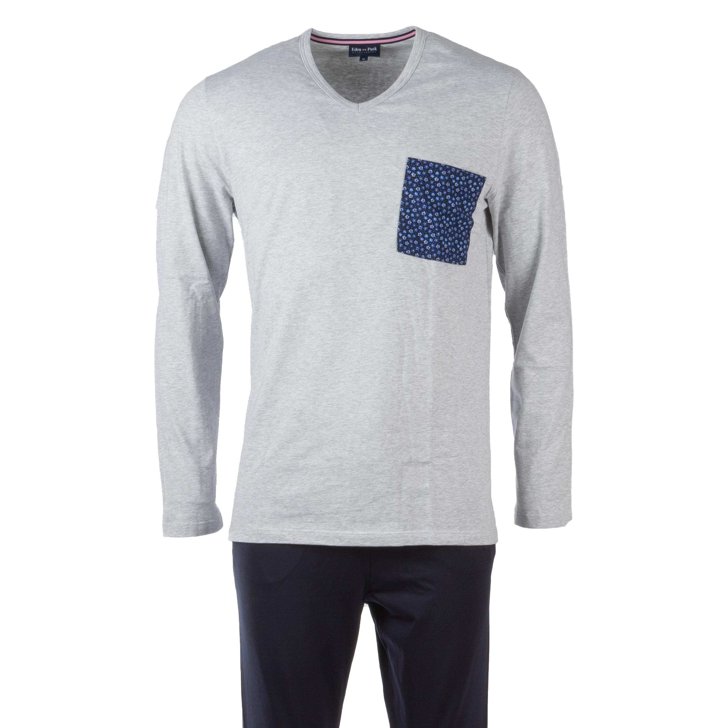 Pyjama long eden park en coton : tee-shirt manches longues col v gris chiné et pantalon bleu marine