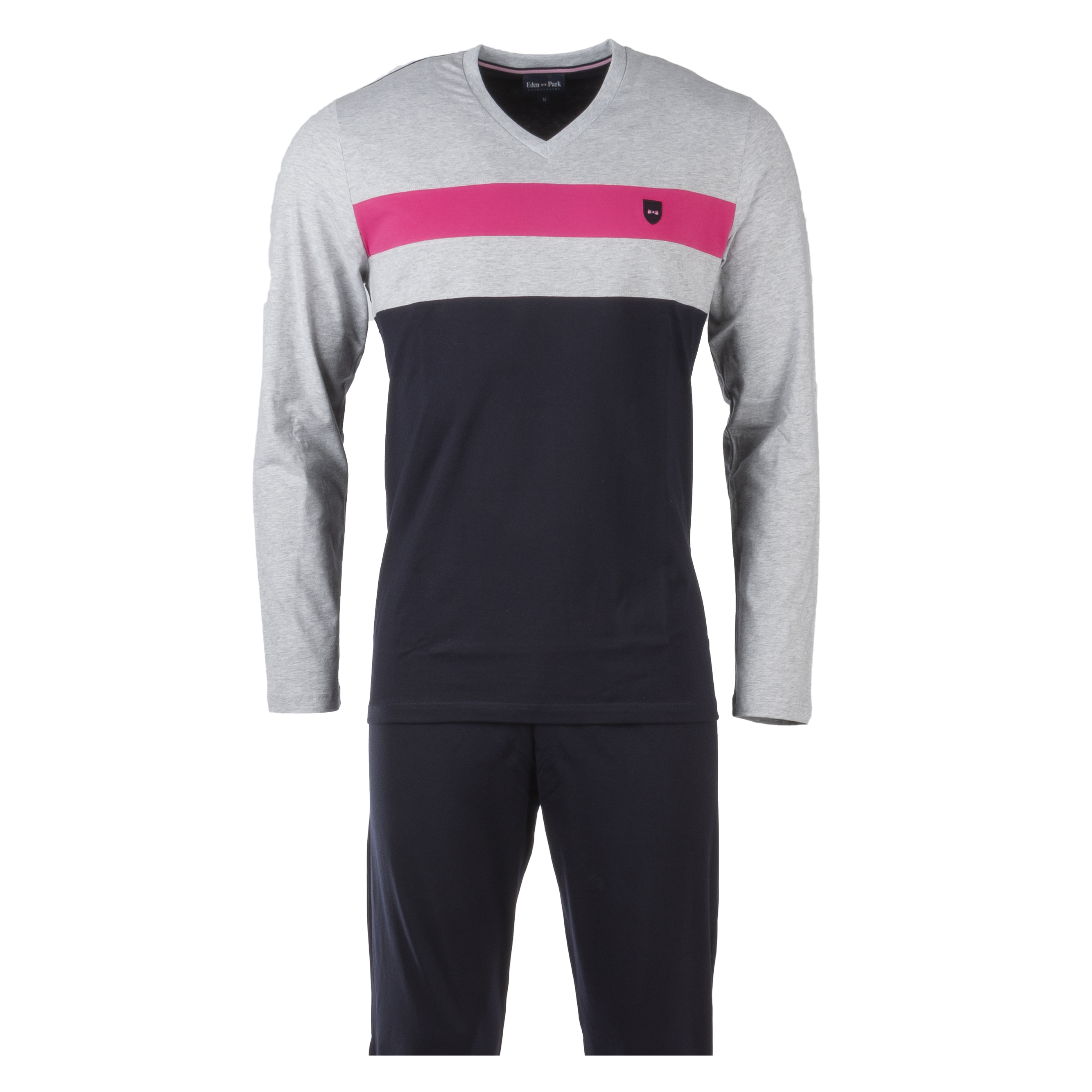 Pyjama long eden park en coton : tee-shirt manches longues col v gris et bleu marine et pantalon bleu marine