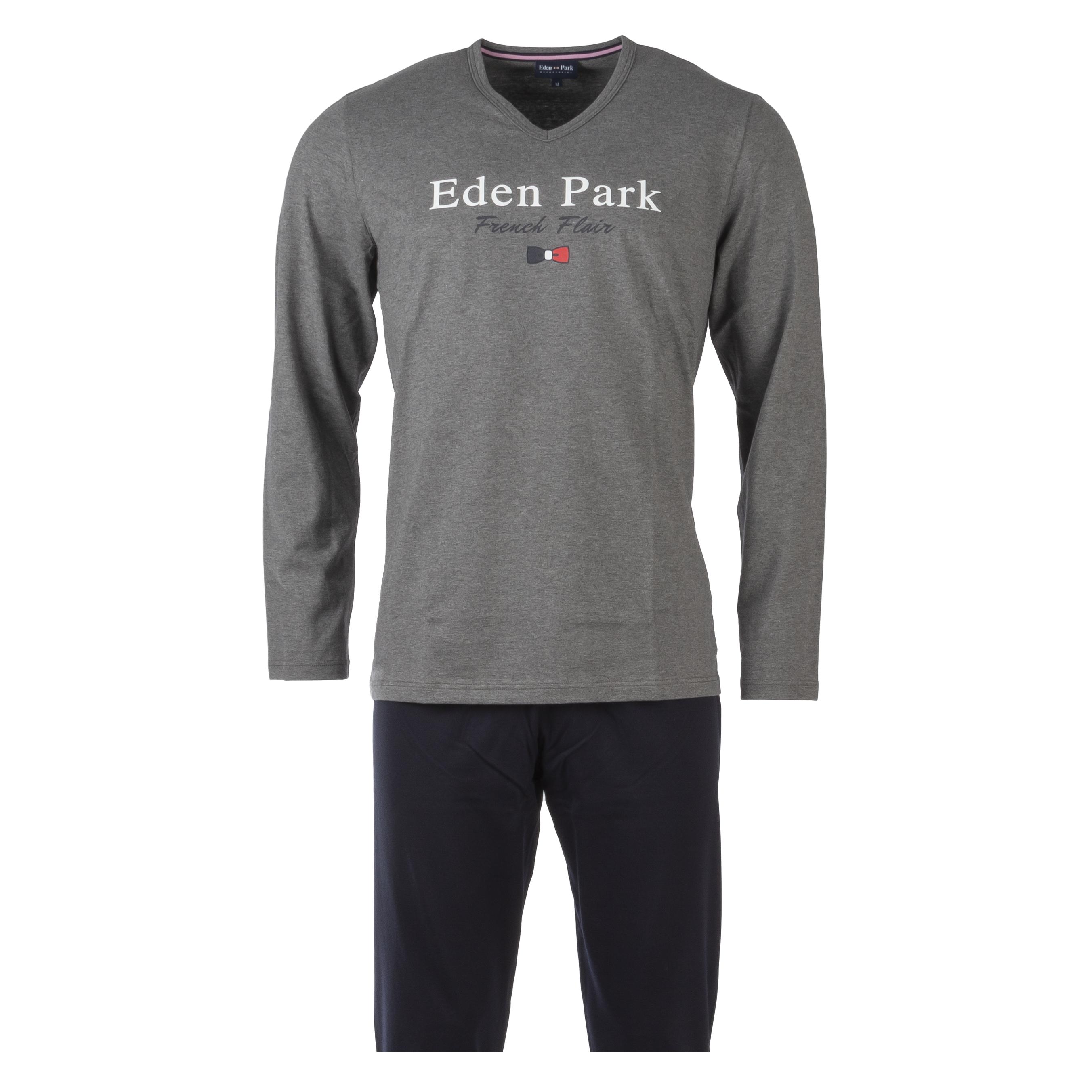 Pyjama long eden park en coton : tee-shirt manches longues col v gris chiné floqué et pantalon bleu marine