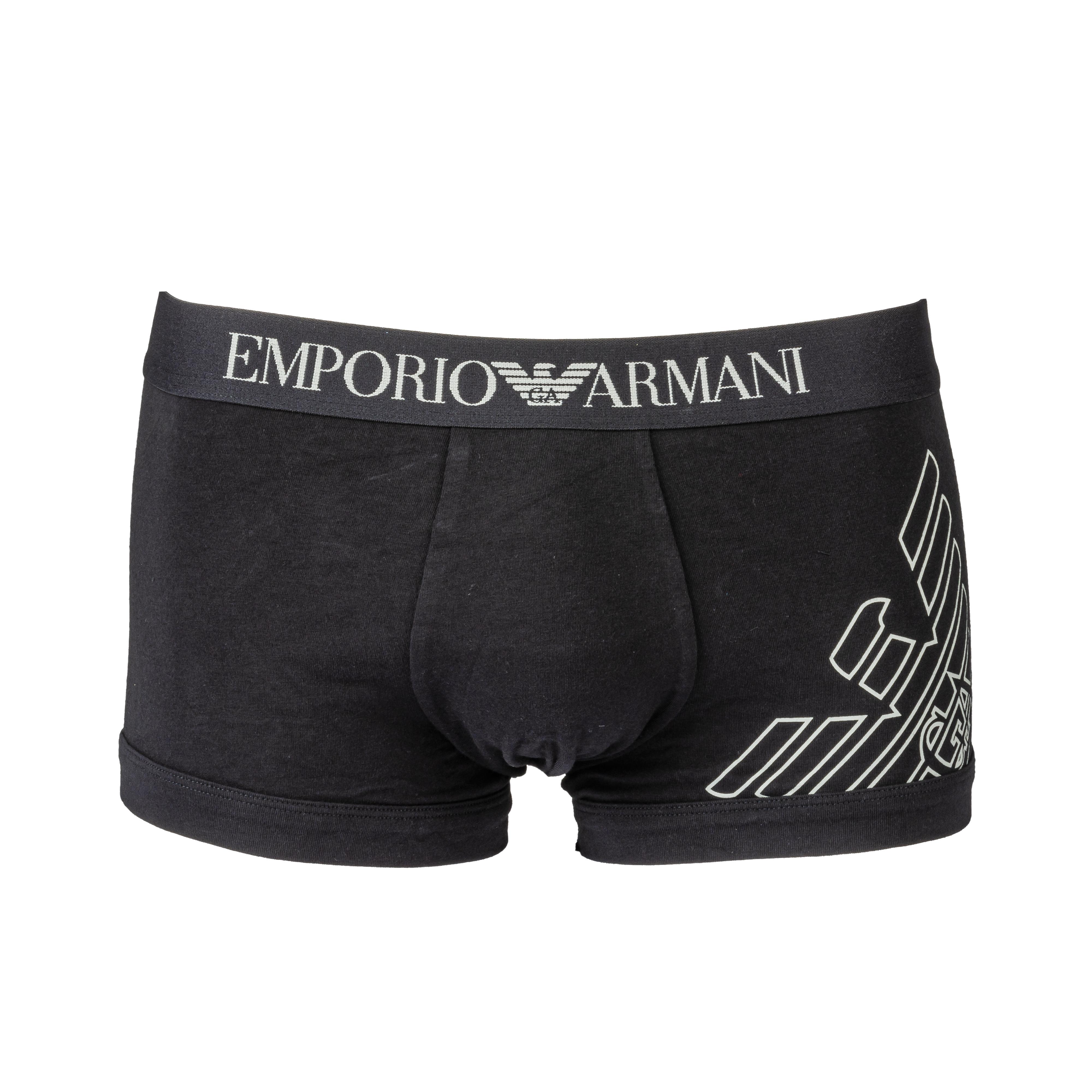 Boxer  en coton stretch noir imprimé à ceinture imprimée noire