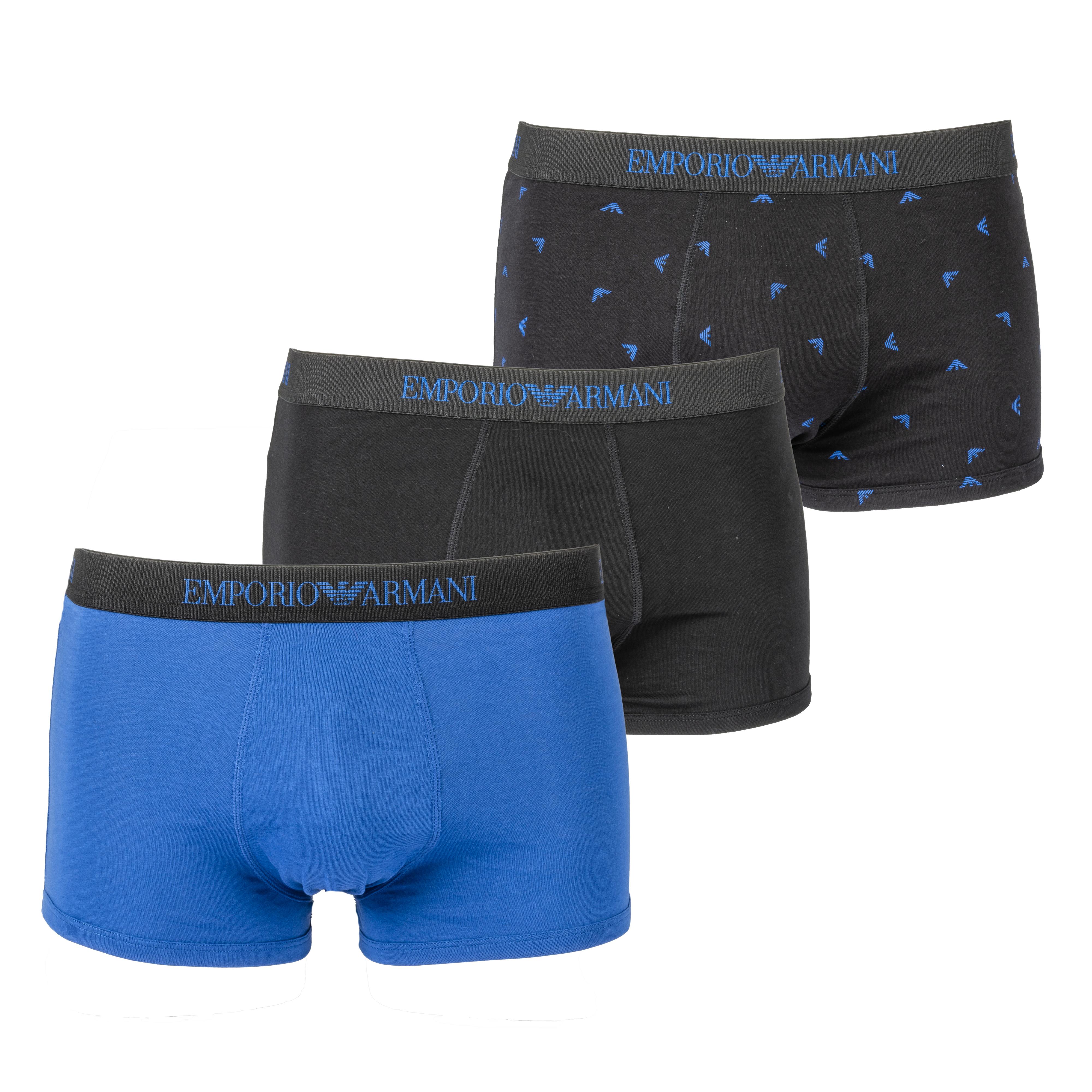 Lot de 3 boxers  en coton noir, bleu électrique et noir logotypé en bleu