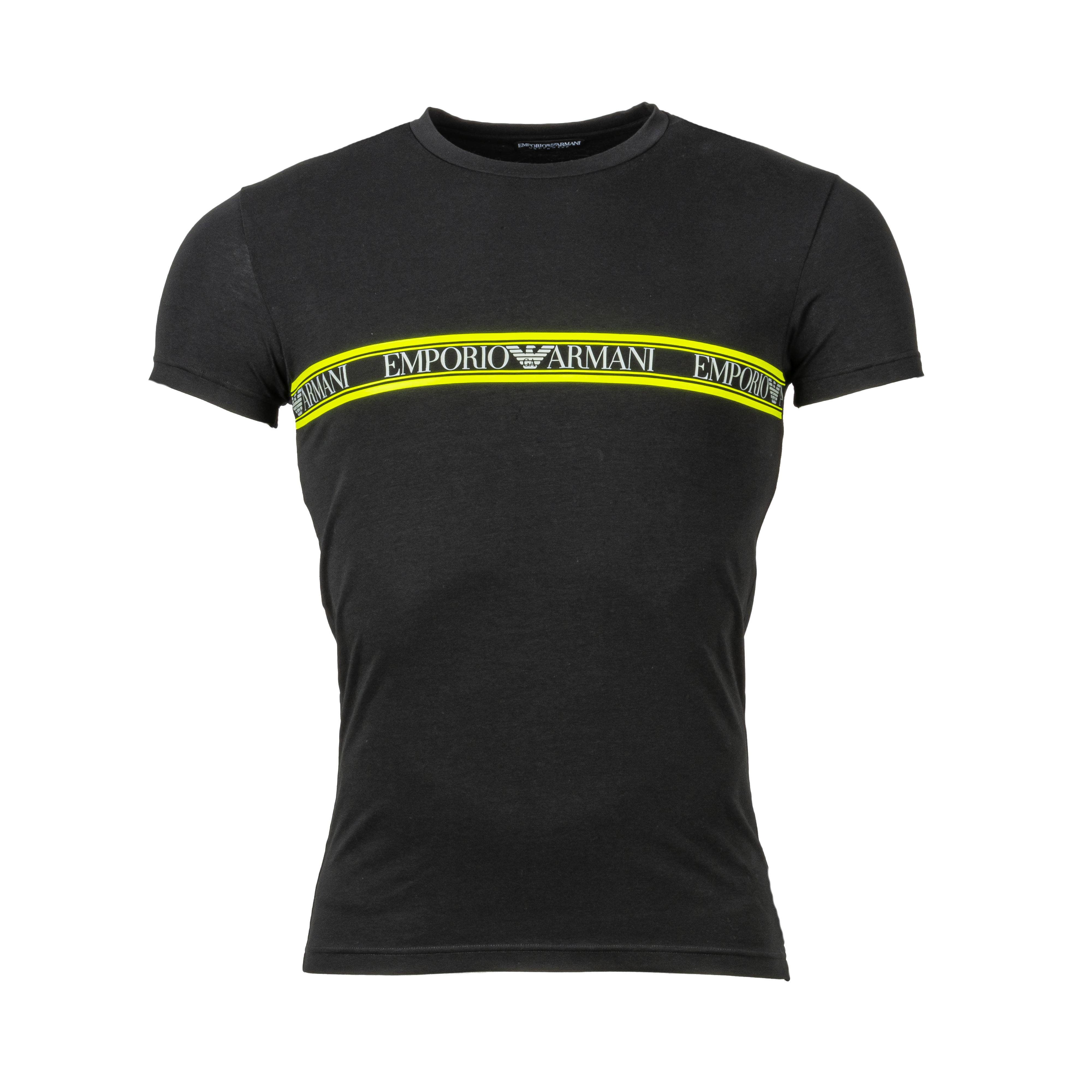 Tee-shirt col rond  en coton stretch noir floqué en gris et vert fluo