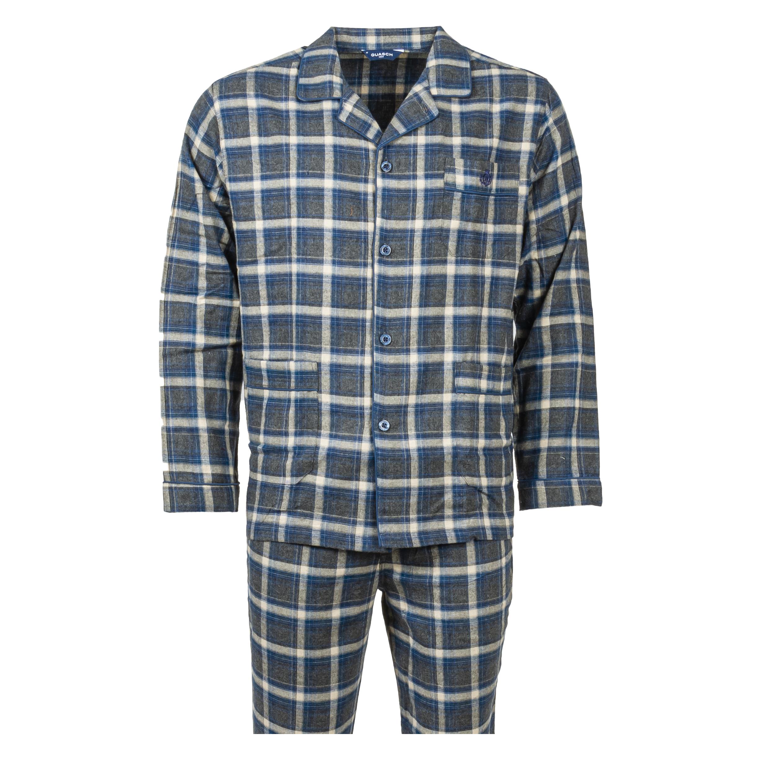 Pyjama chemise long Guasch en coton gris chiné et gris anthracite à carreaux