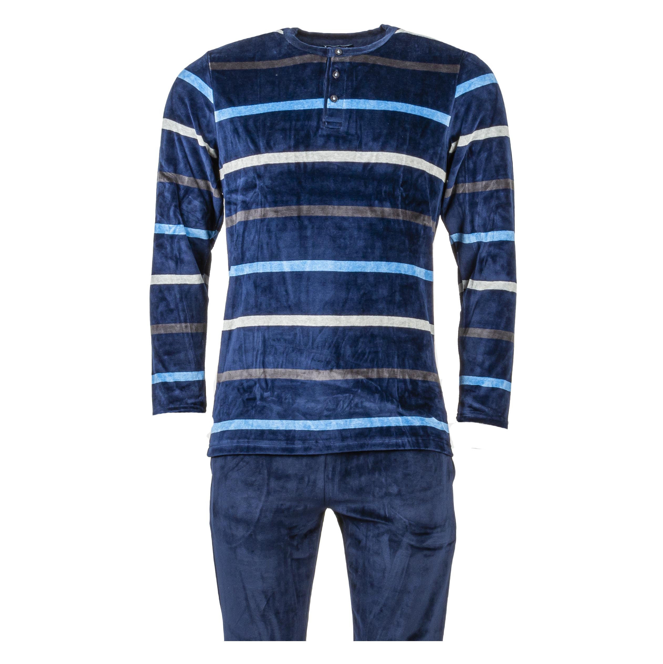 Pyjama long Gasch en velours bleu marine rayé bleu et gris