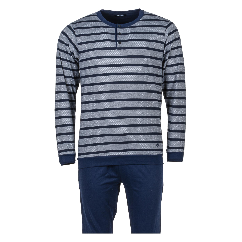 Pyjama long Guasch en coton gris chiné rayé et pantalon bleu marine