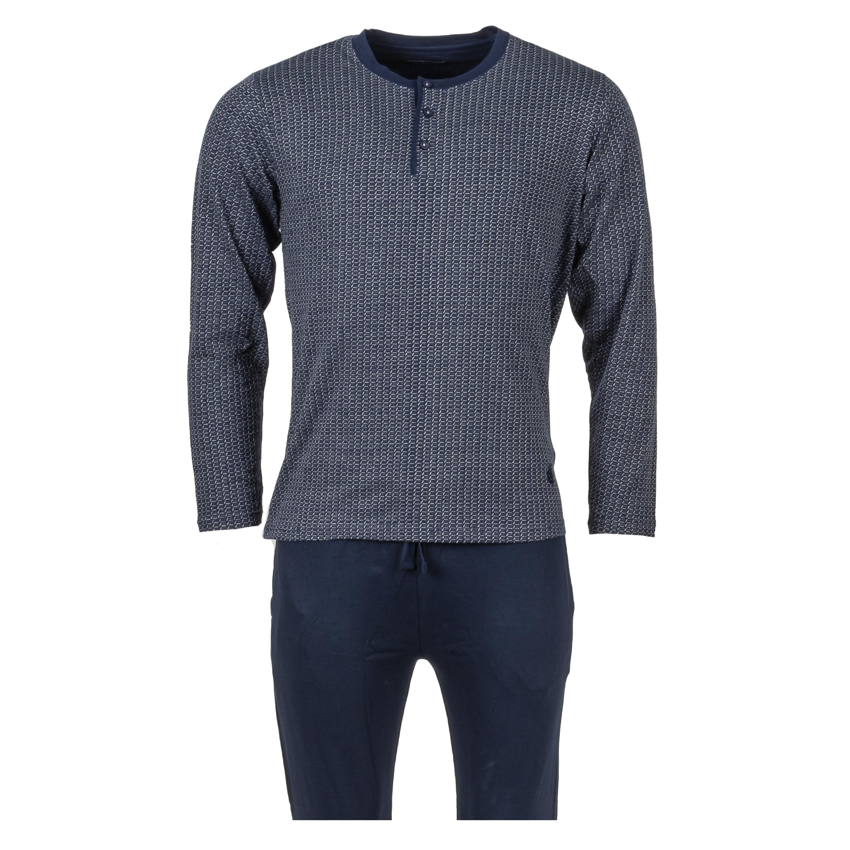 Pyjama long Guasch en coton stretch : tee-shirt manches longues bleu marine à fins motifs gris et pantalon bleu marine