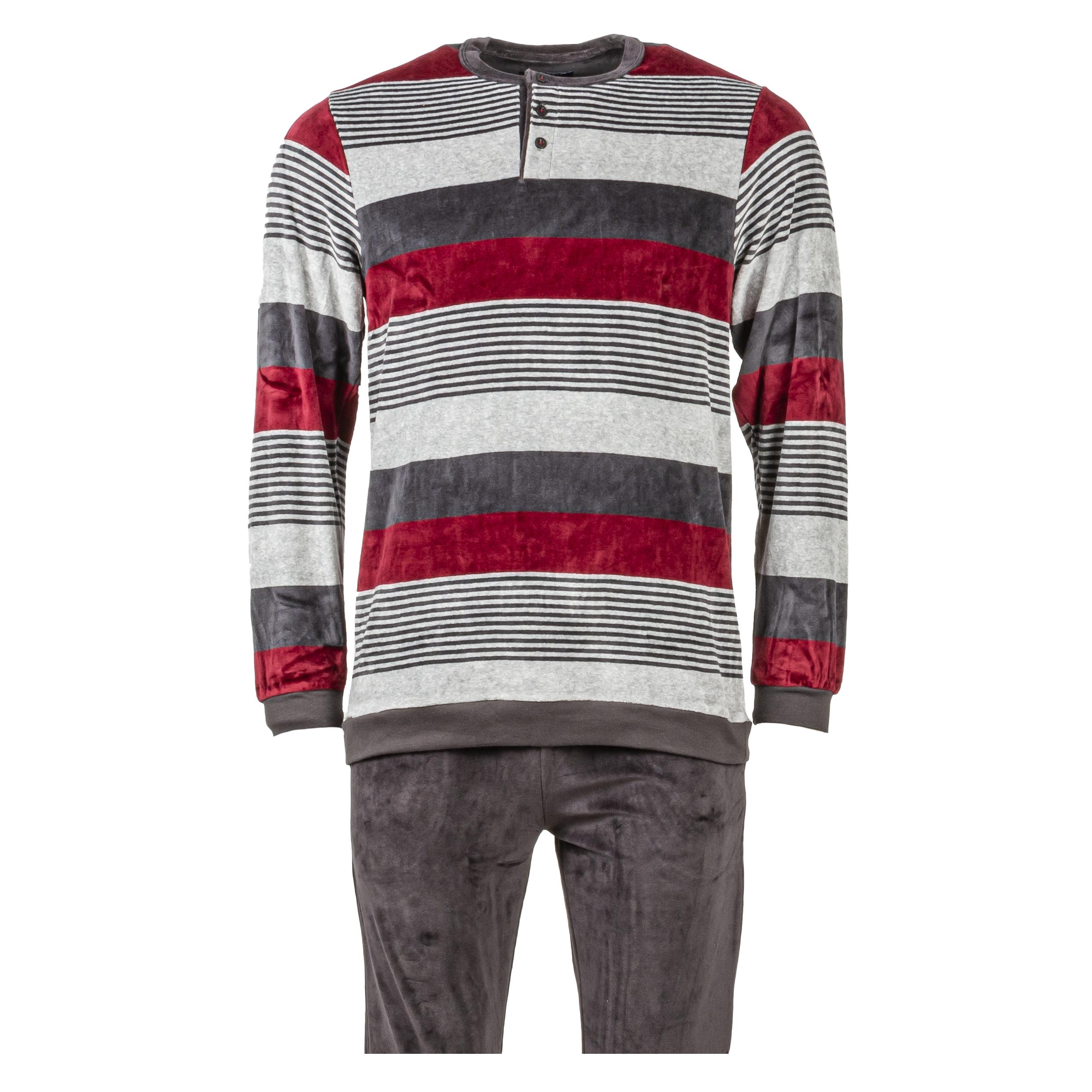 Pyjama long Guasch en velours gris anthracite à rayures gris chiné et rouges