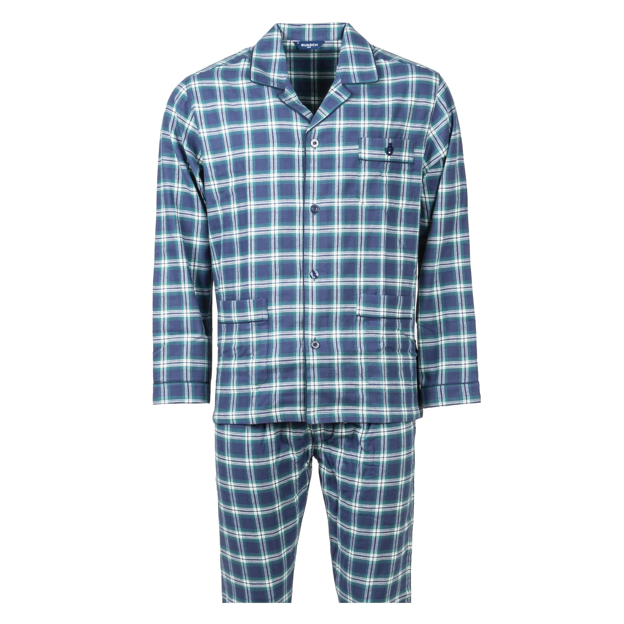 Pyjama long chemise Gasch en coton bleu marine et vert à carreaux