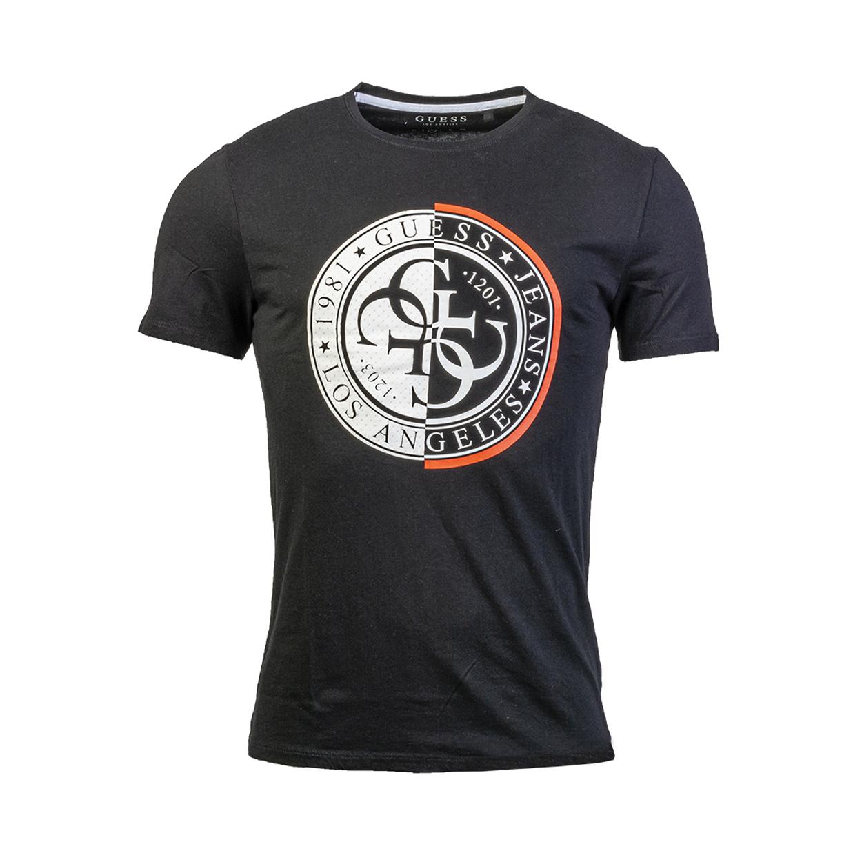 Tee-shirt col rond  mesh stamp en coton et modal noirs à flocage blanc et rouge