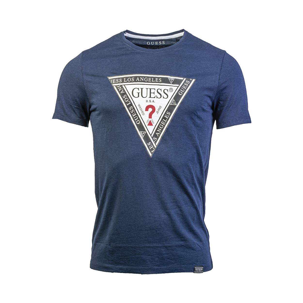 Tee-shirt col rond guess wrapped en coton et modal bleu marine floqué