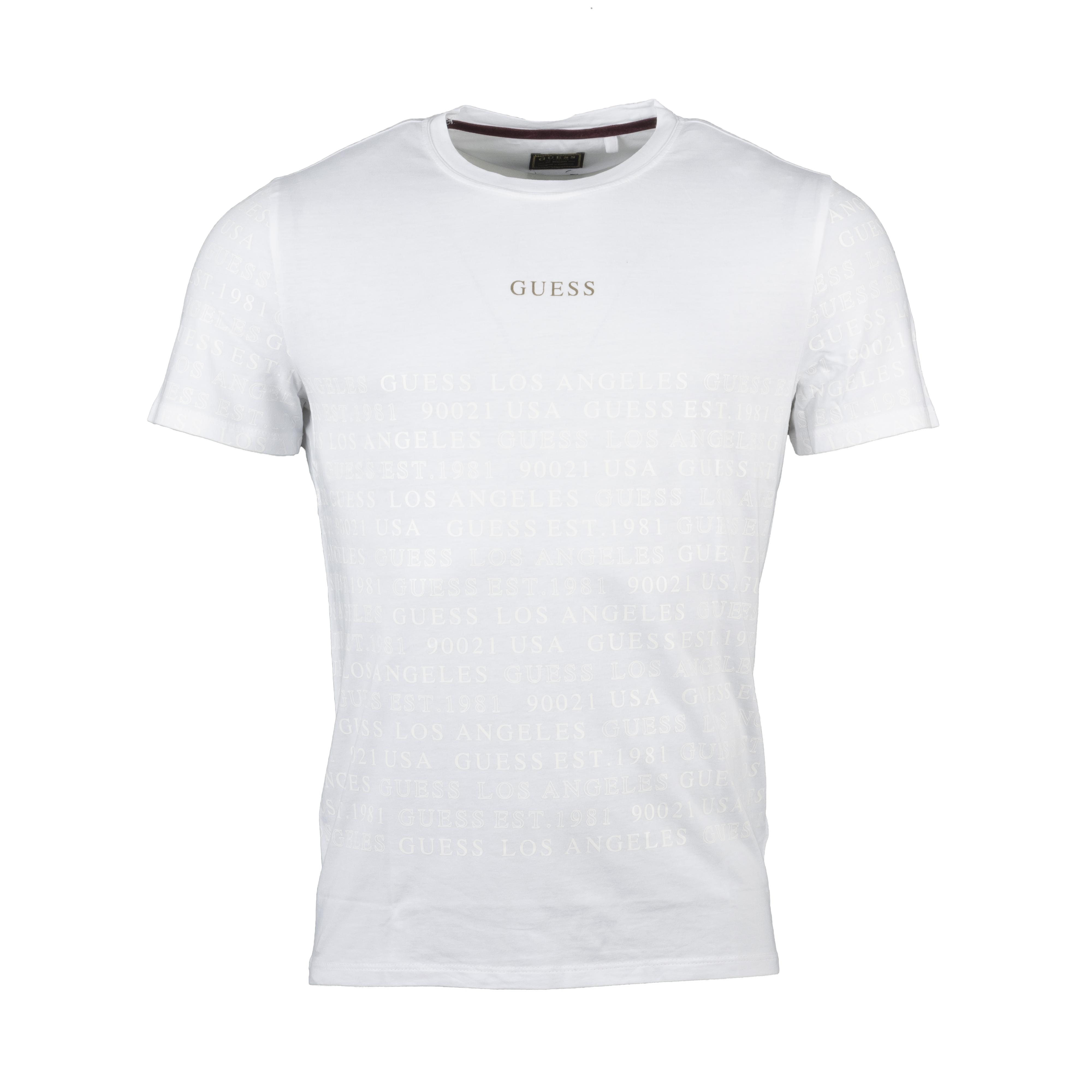 Tee-shirt col rond  en coton mélangé blanc floqué