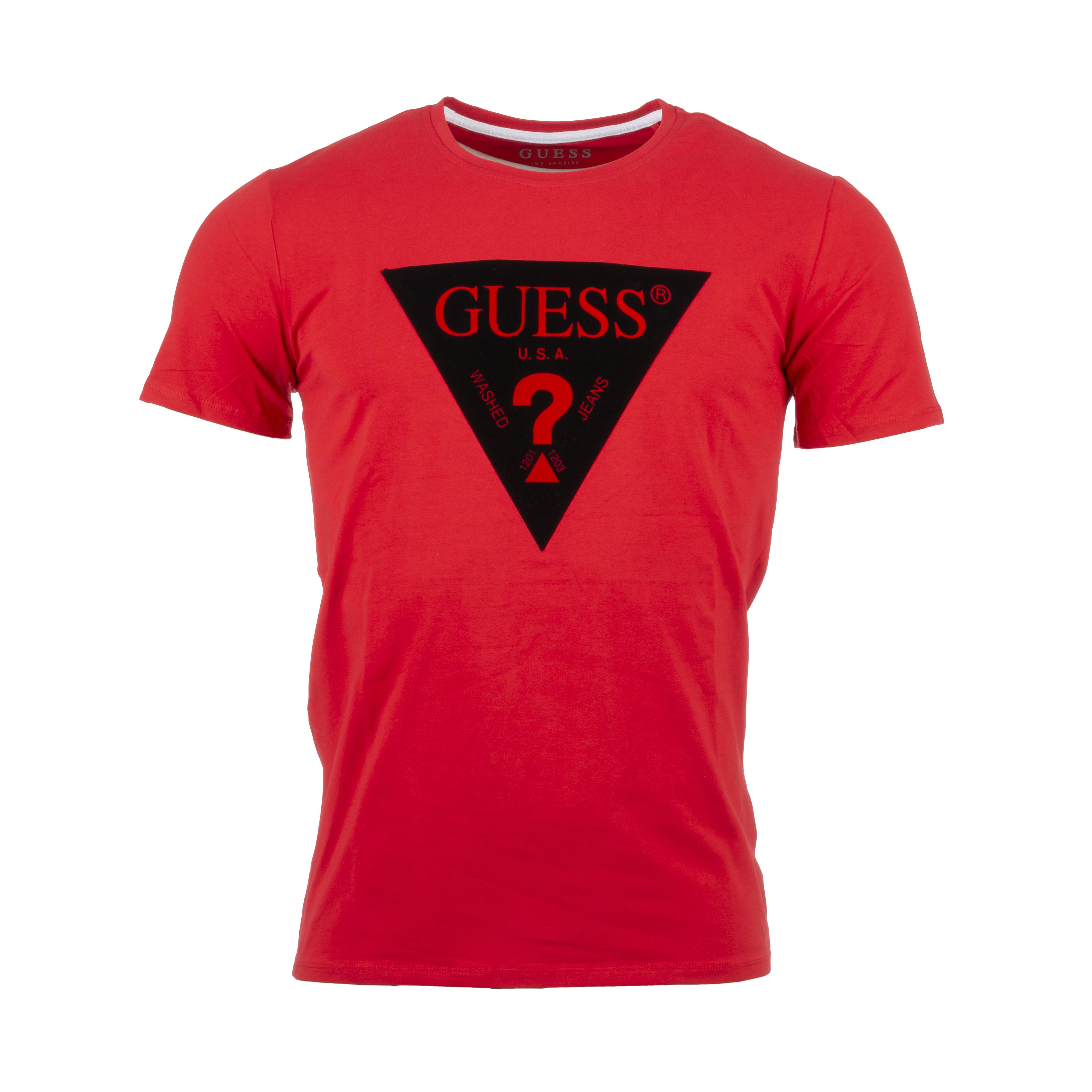 Tee-shirt col rond  en coton mélangé rouge floqué