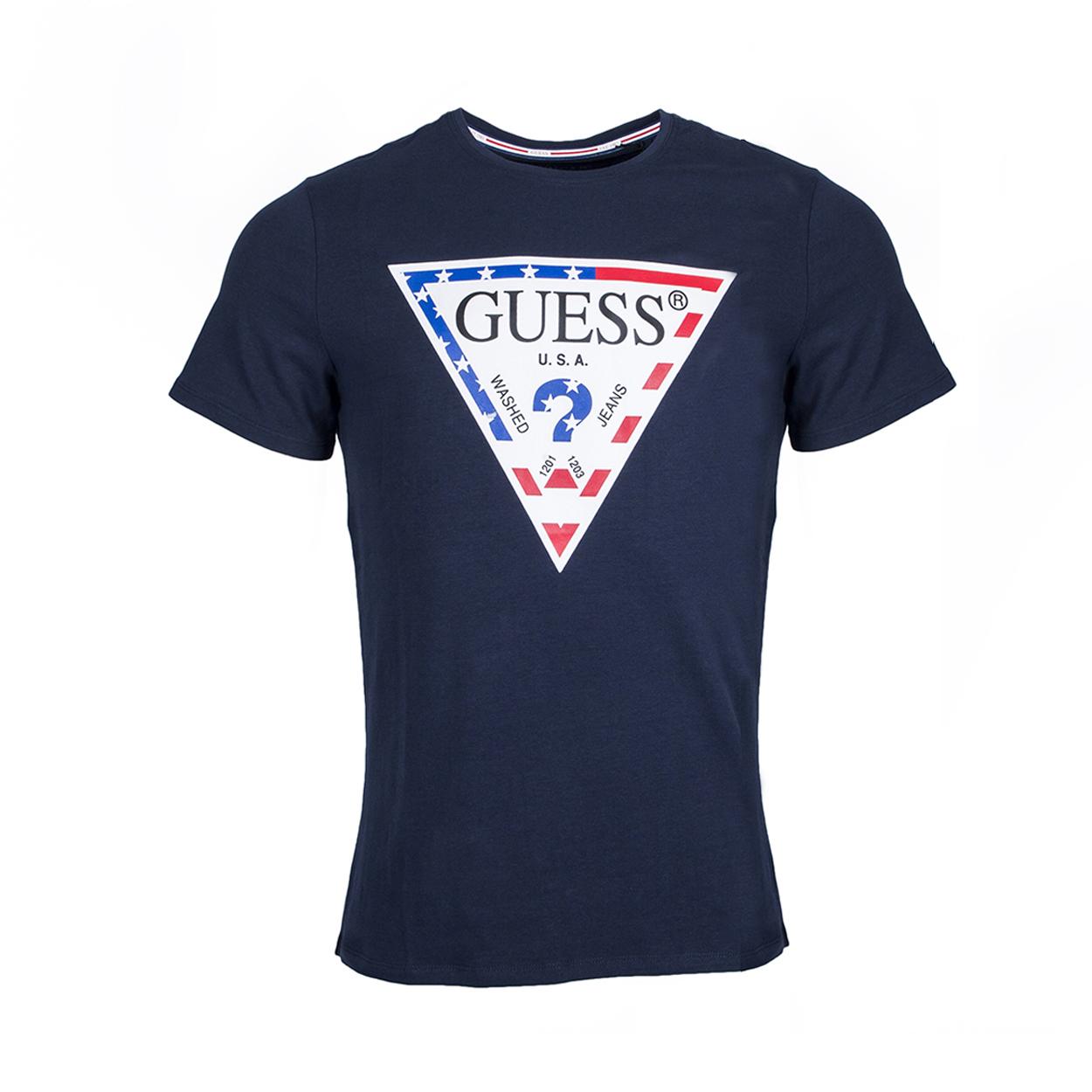 Tee-shirt col rond guess stars and stripes en coton stretch bleu marine floqué