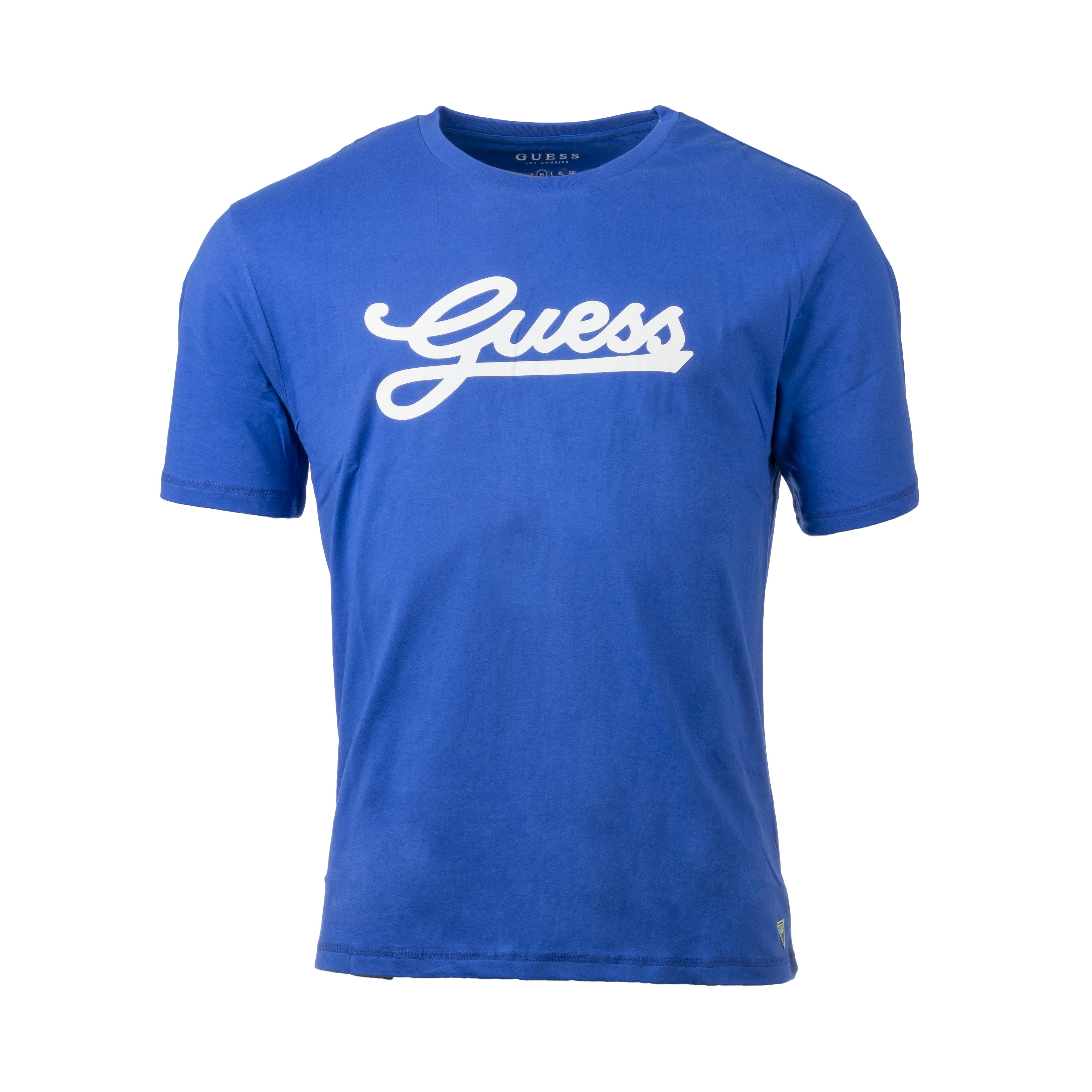 Tee-shirt col rond  en coton bleu roi