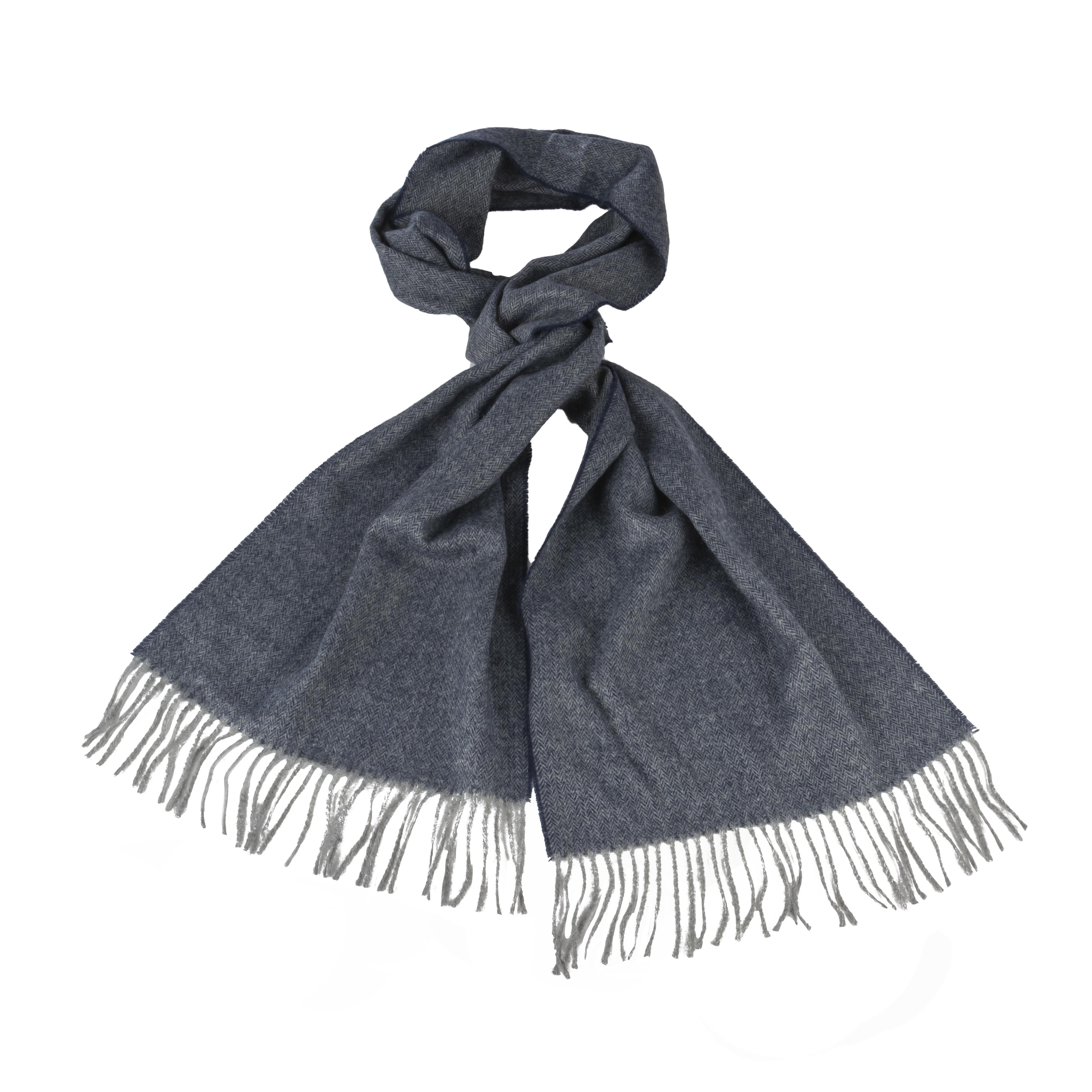 Echarpe Harris Wilson Xever en laine mélangée bleu marine et gris chiné