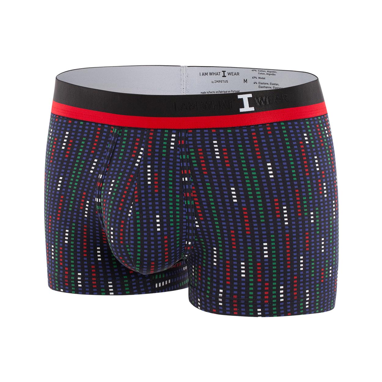 Boxer I am What I Wear en coton mélangé noir à motifs graphiques blancs, rouges, verts et bleus