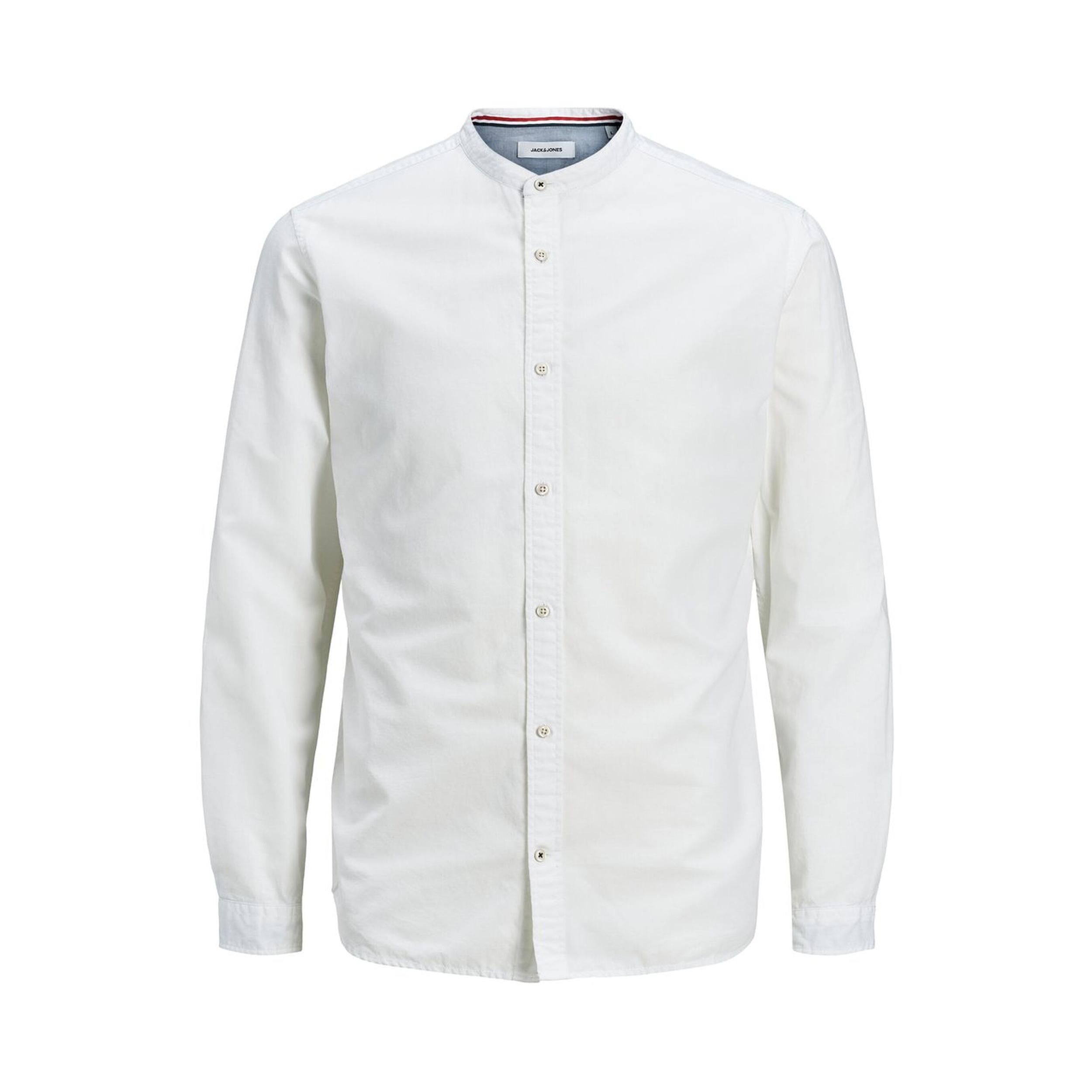 Chemise ajustée col mao  summer en coton et lin blancs
