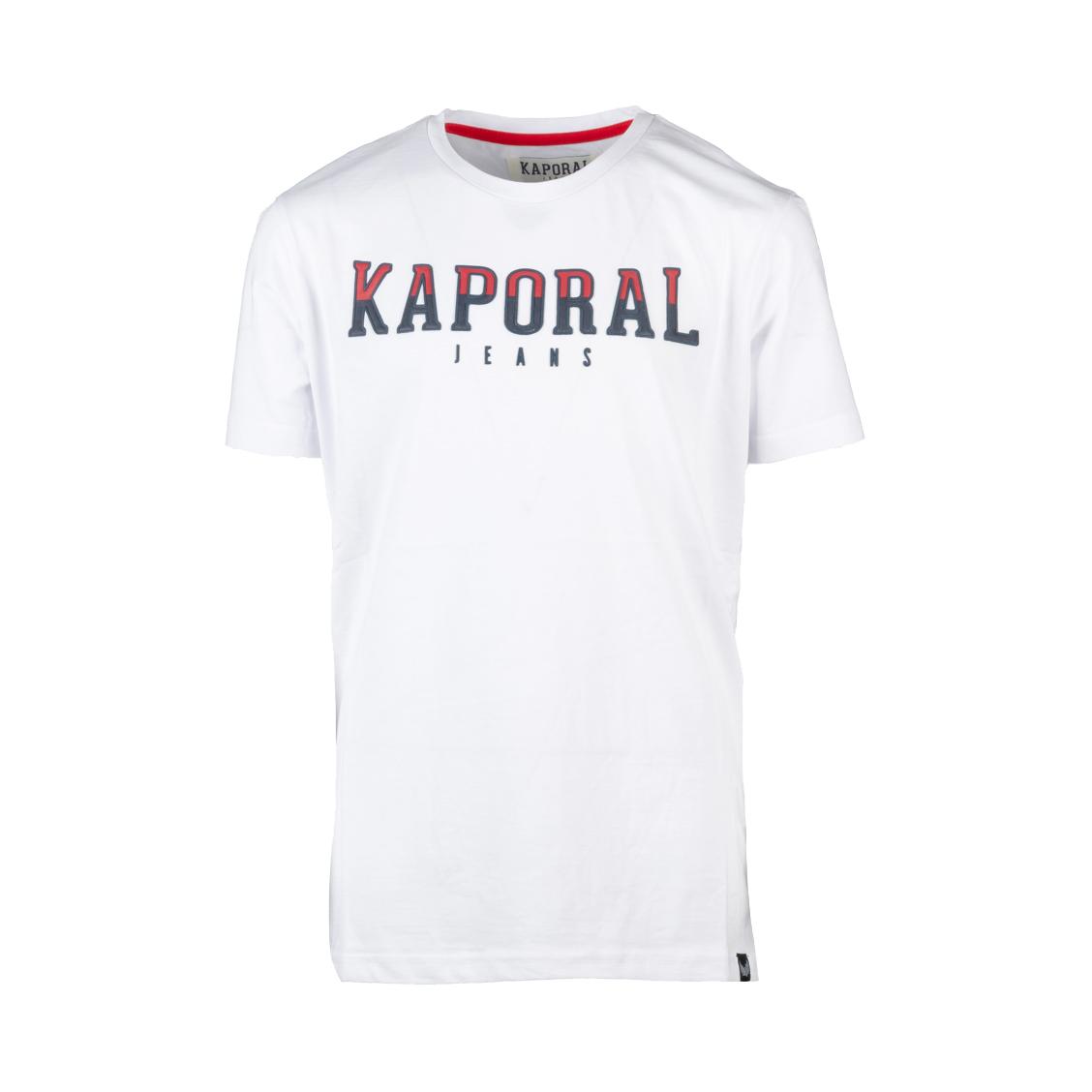 Tee-shirt col rond  bonar en coton blanc floqué