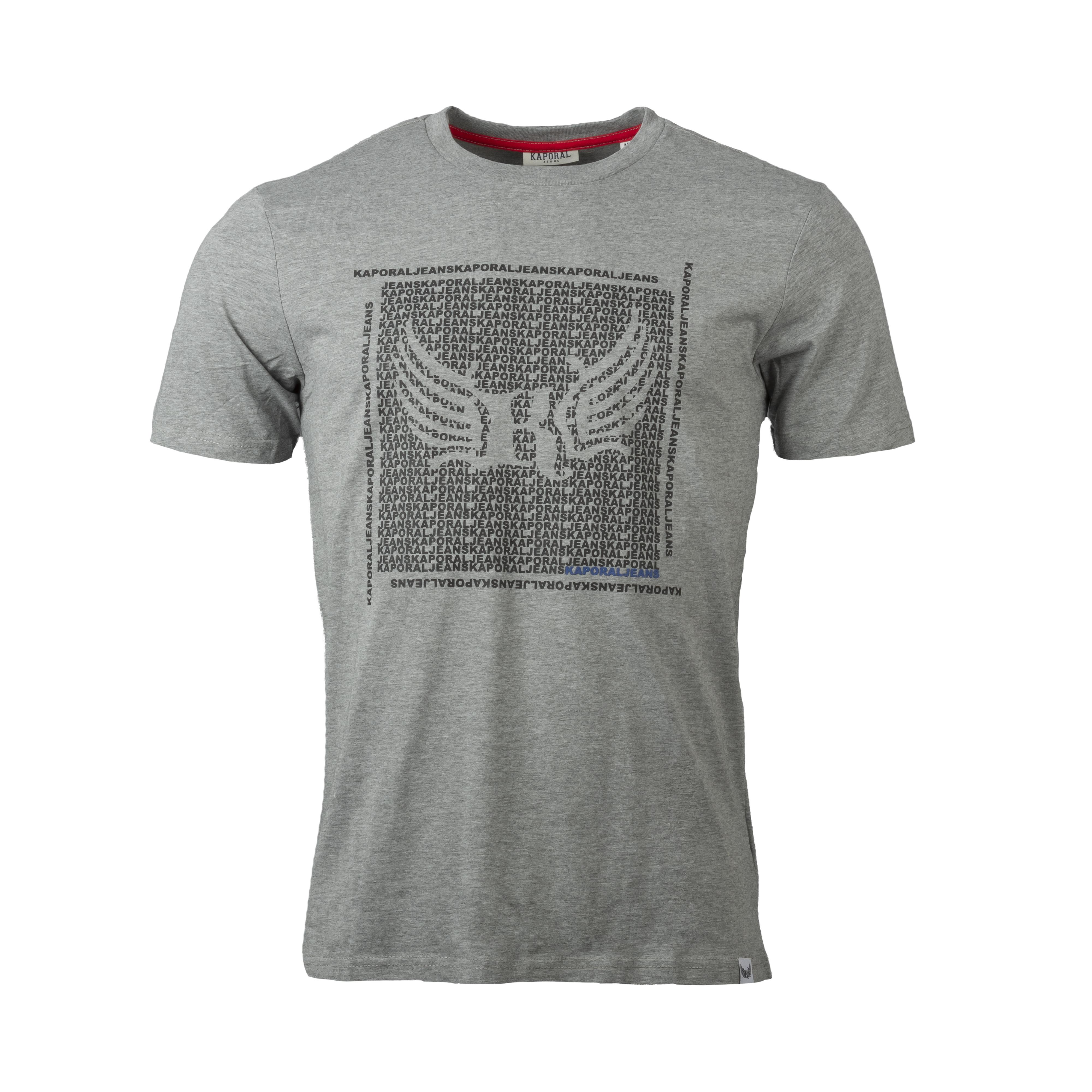 Tee-shirt col rond  pasto en coton mélangé gris floqué