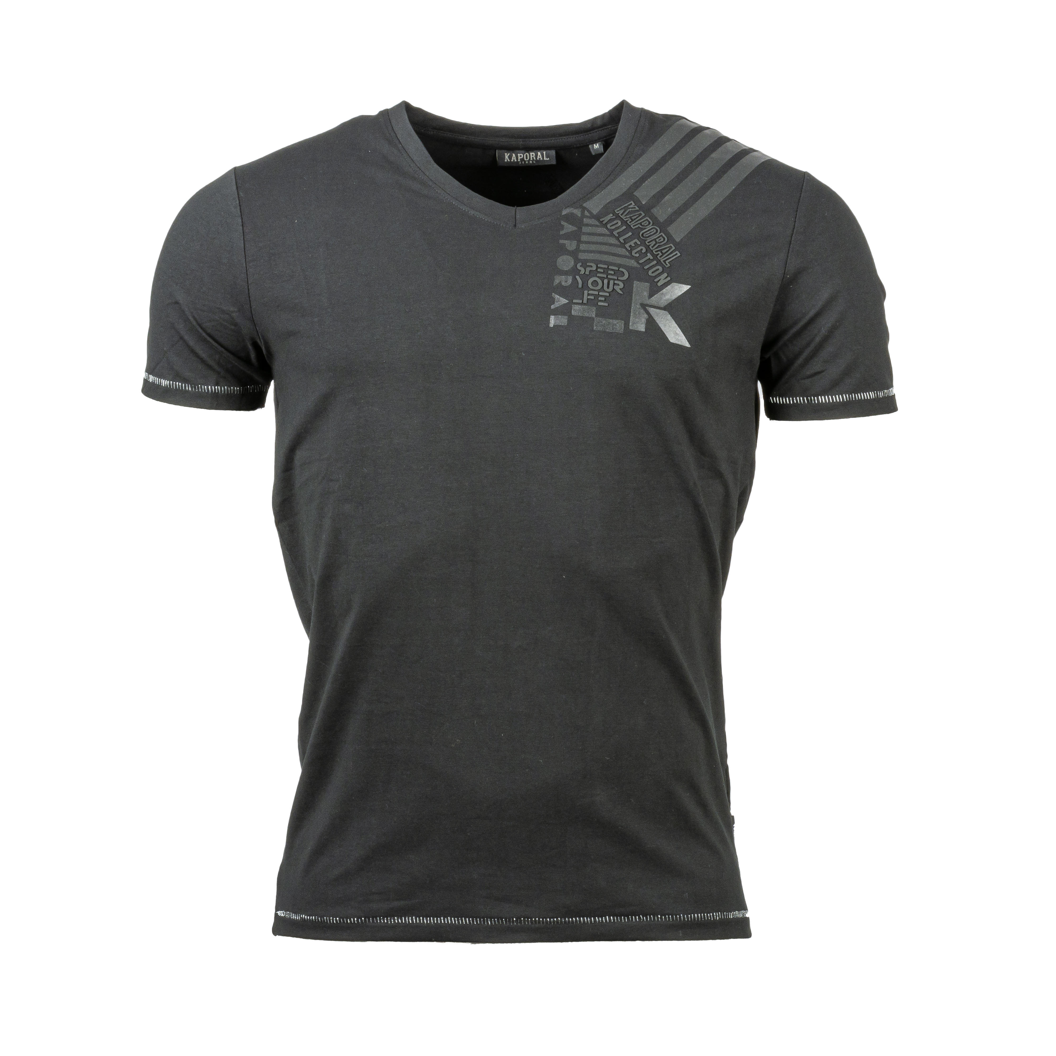 Tee-shirt col v  muira en coton stretch noir floqué