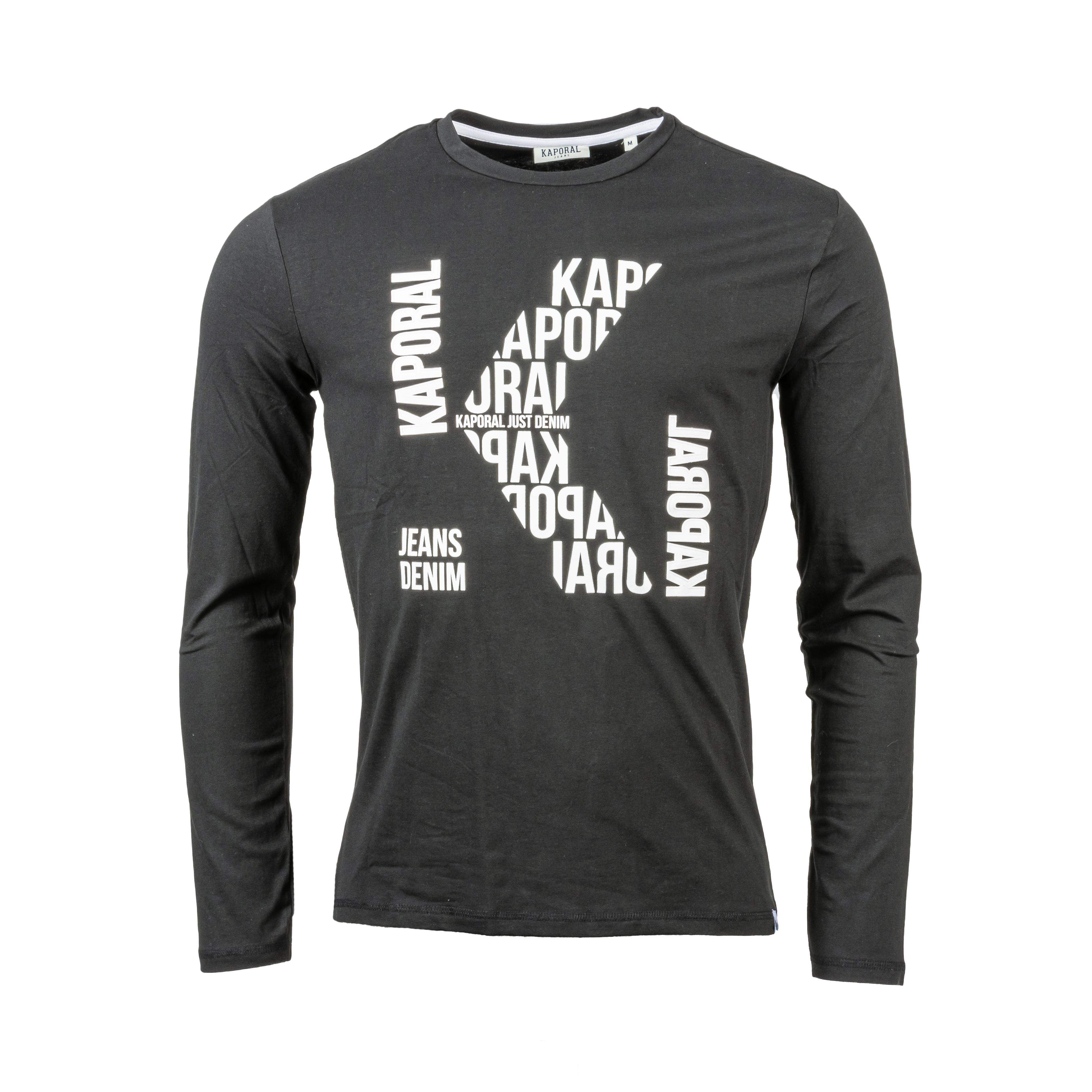 Tee-shirt col rond manches longues  gerlu en coton stretch noir flloqué