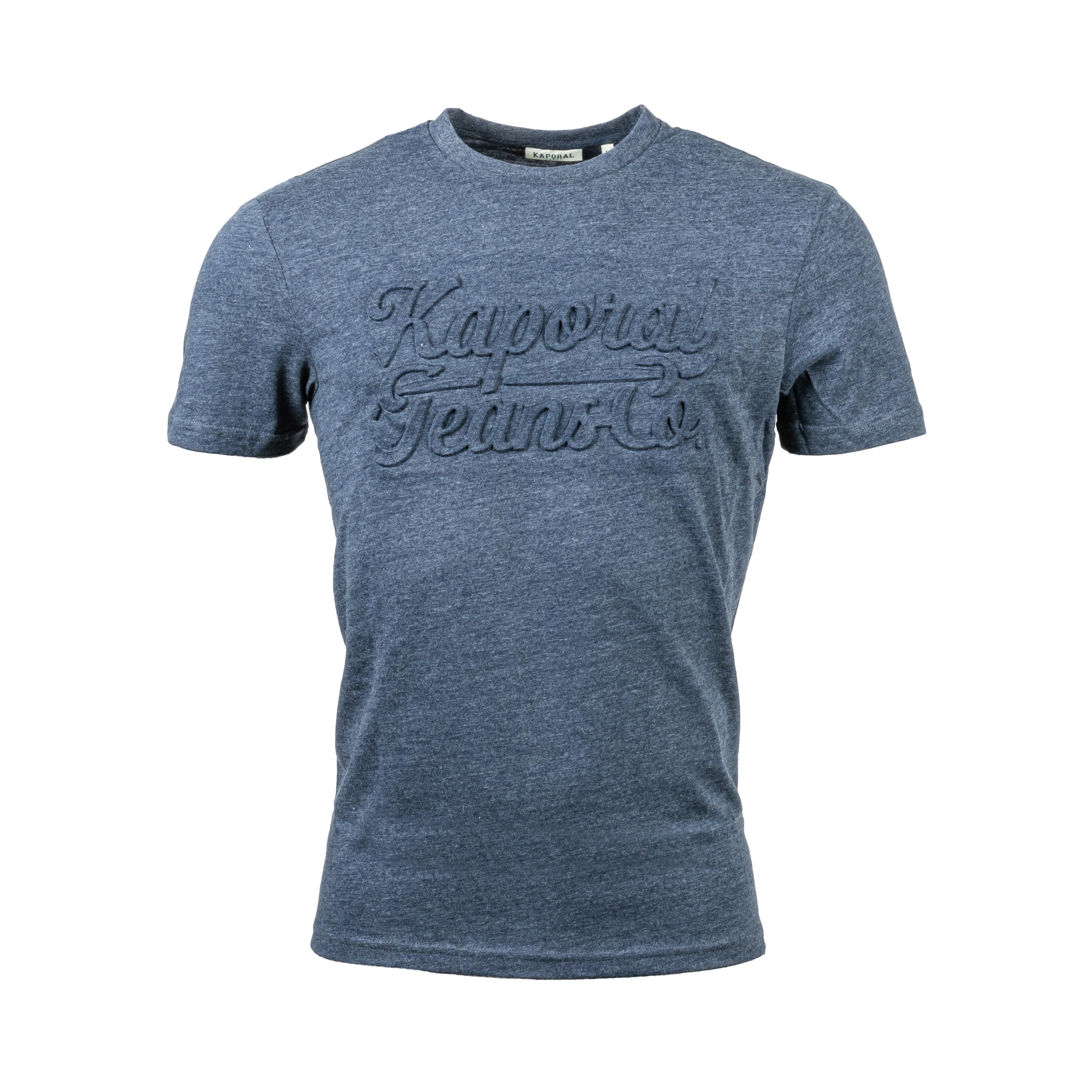 Tee-shirt col rond  omed en coton mélangé bleu nuit