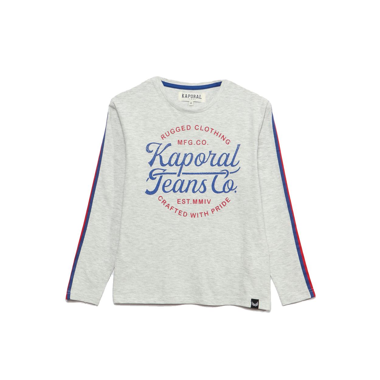 Tee-shirt  manches longues en coton mélangé gris clair chiné floqué