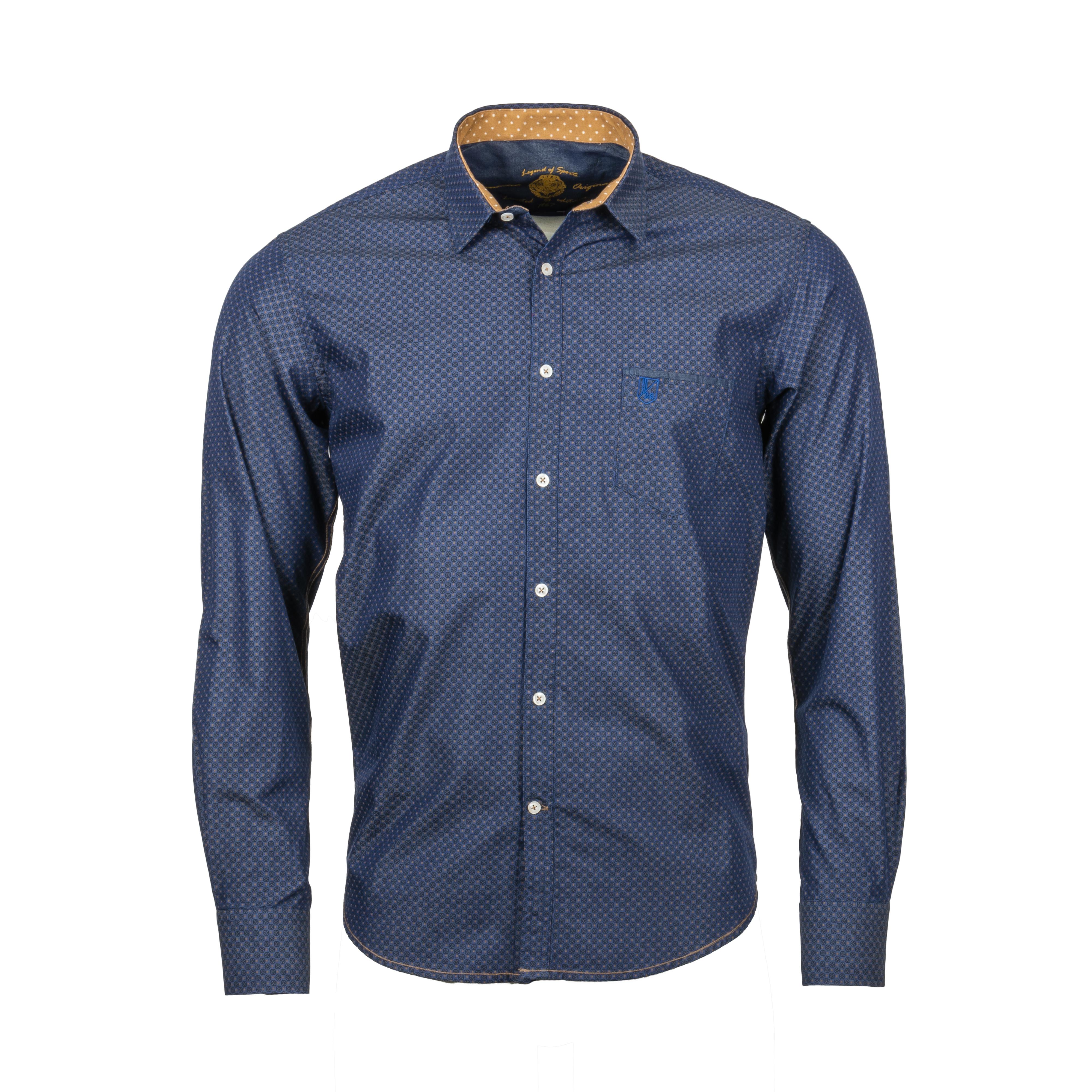 Chemise ajustée La Squadra Soglio en coton bleu marine à micro motifs