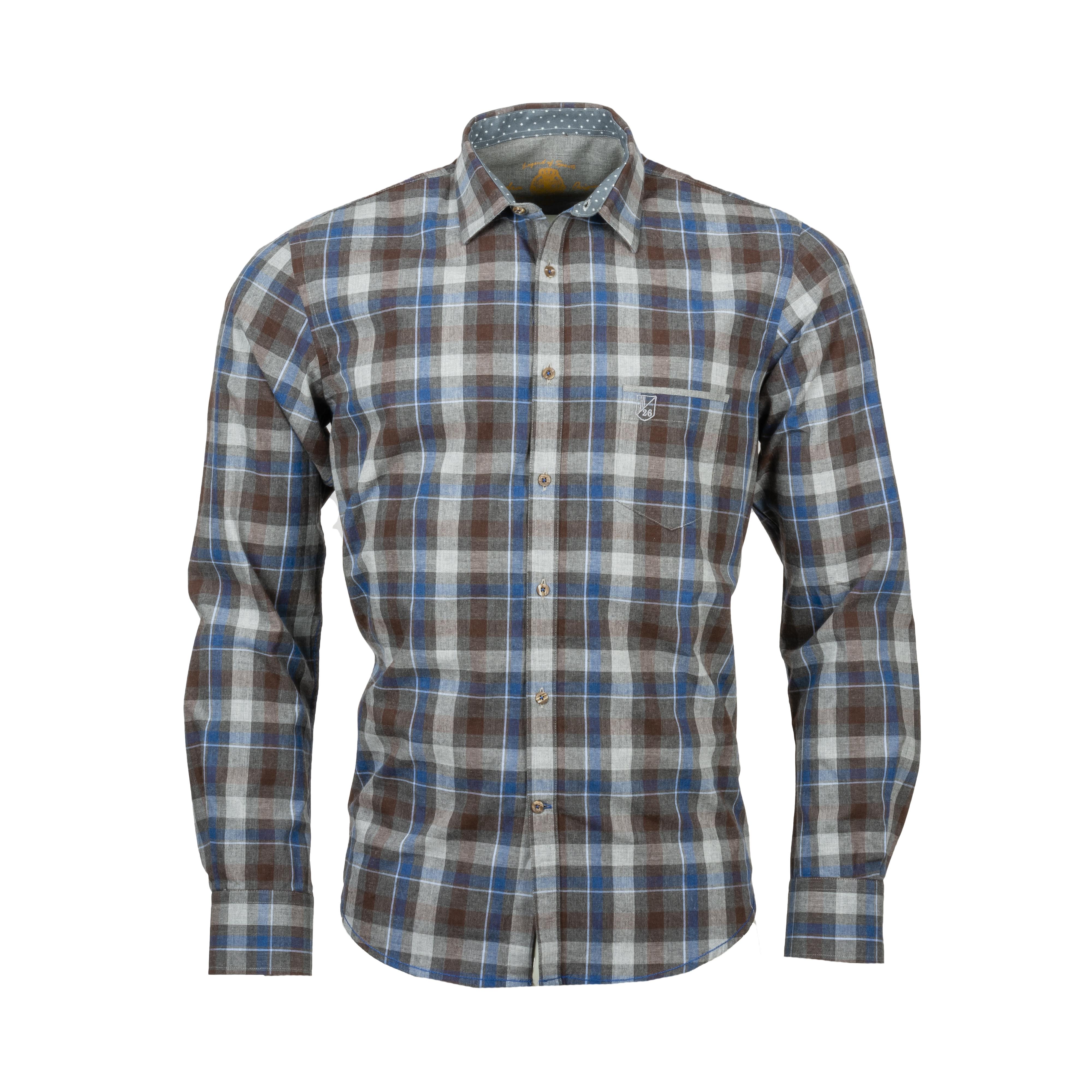 Chemise ajustée La Squadra Sirolo en coton gris à carreaux