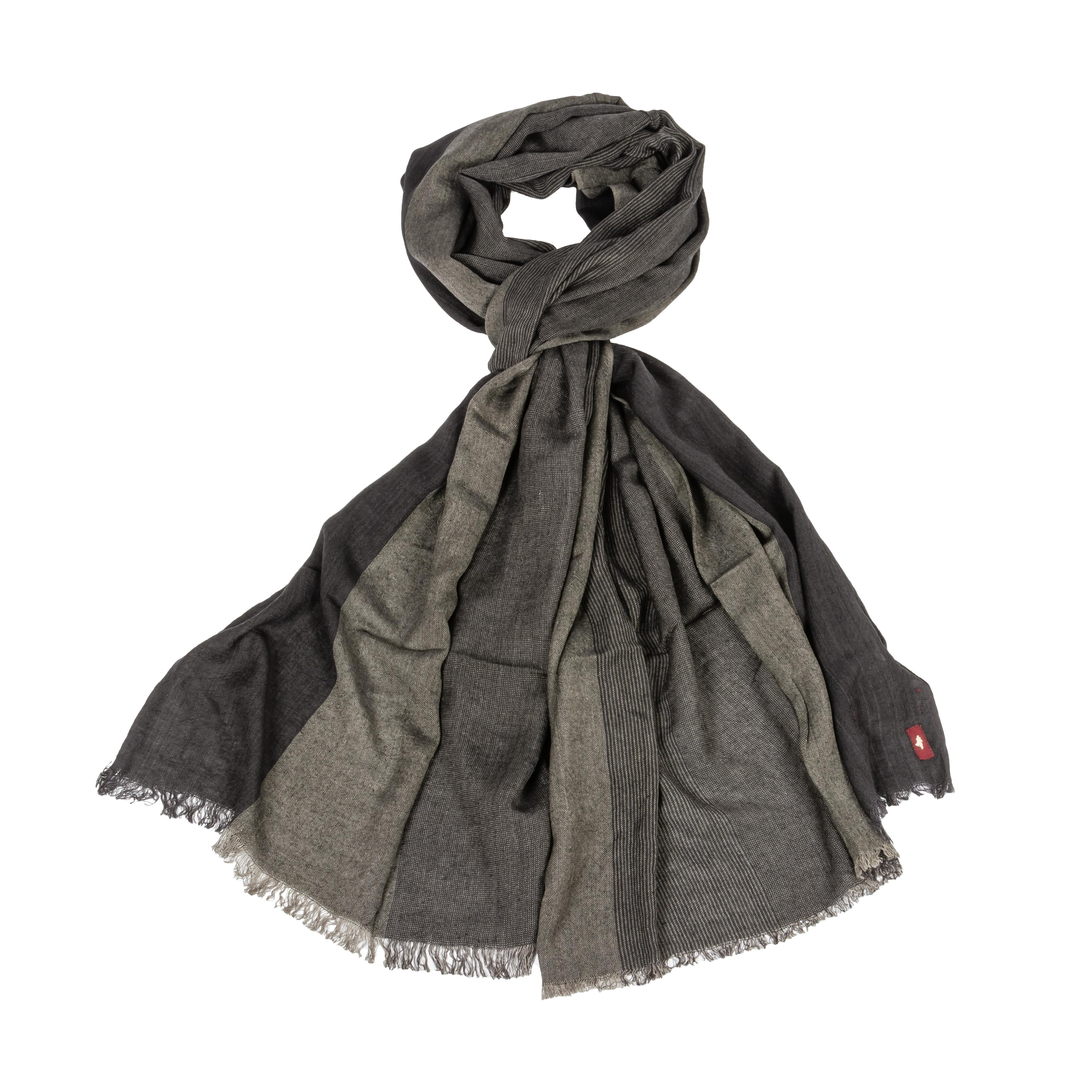 Echarpe  bicolore grise et noire à rayures