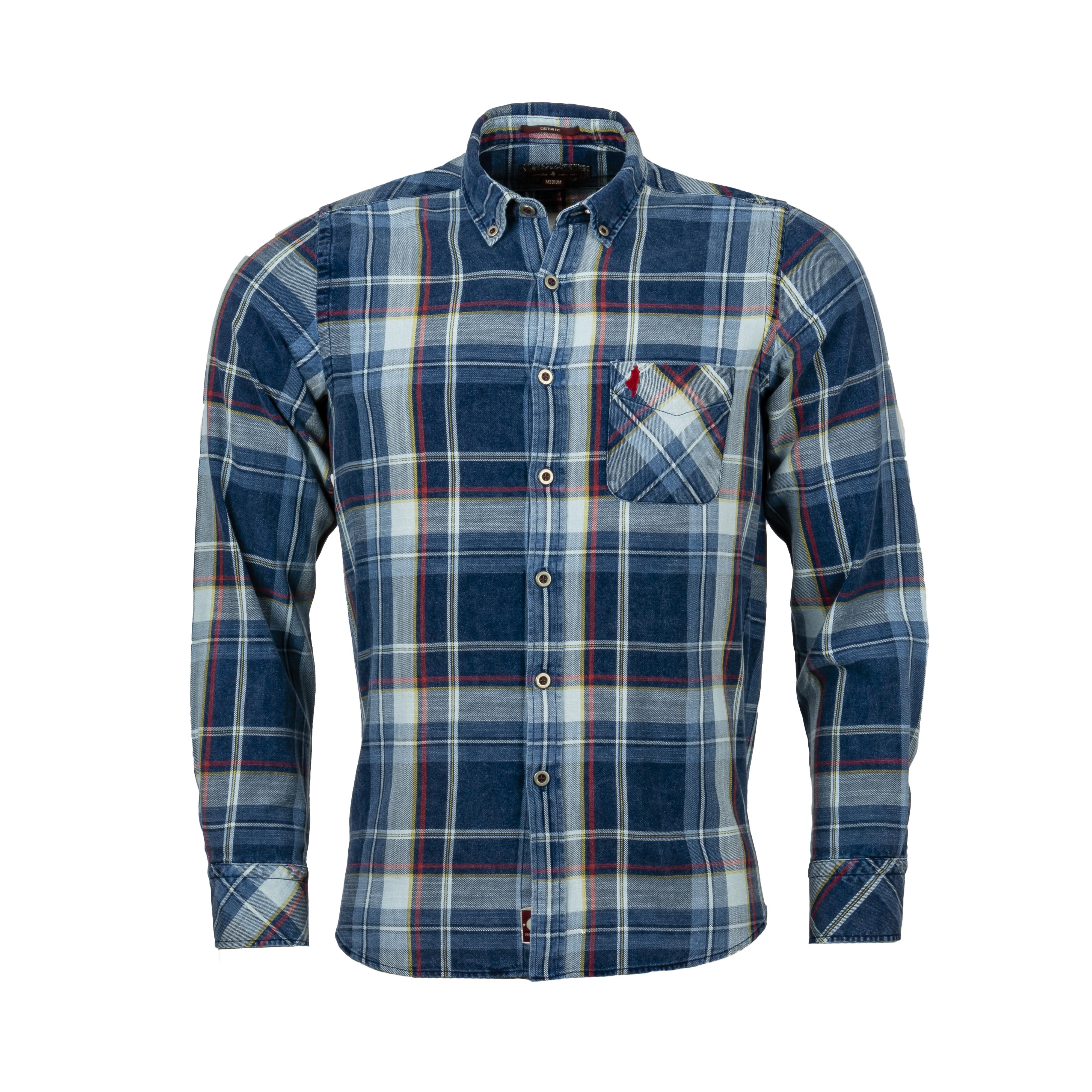 Chemise ajustée manches longues MCS en coton à carreaux bleus