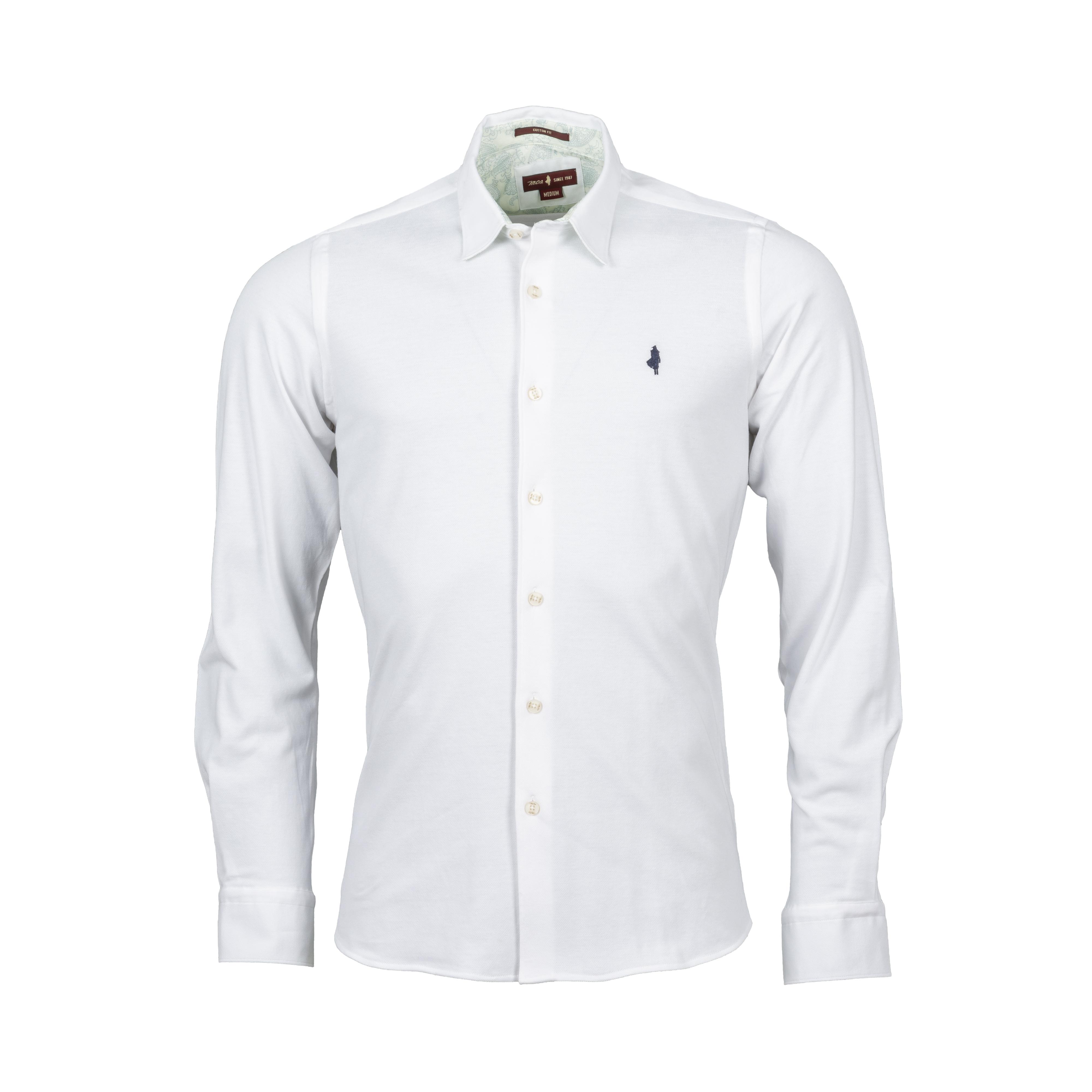 Chemise ajustée manches longues MCS en coton piqué blanc