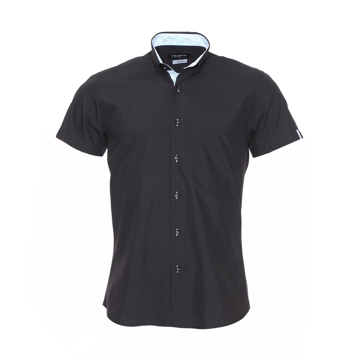 Chemise cintrée manches courtes  noire à opposition à rayures