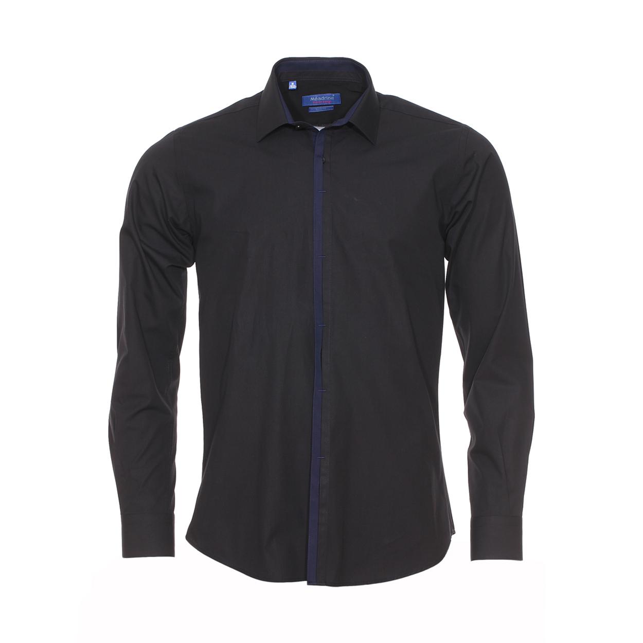 Chemise cintrée  en coton noir à opposition bleu marine